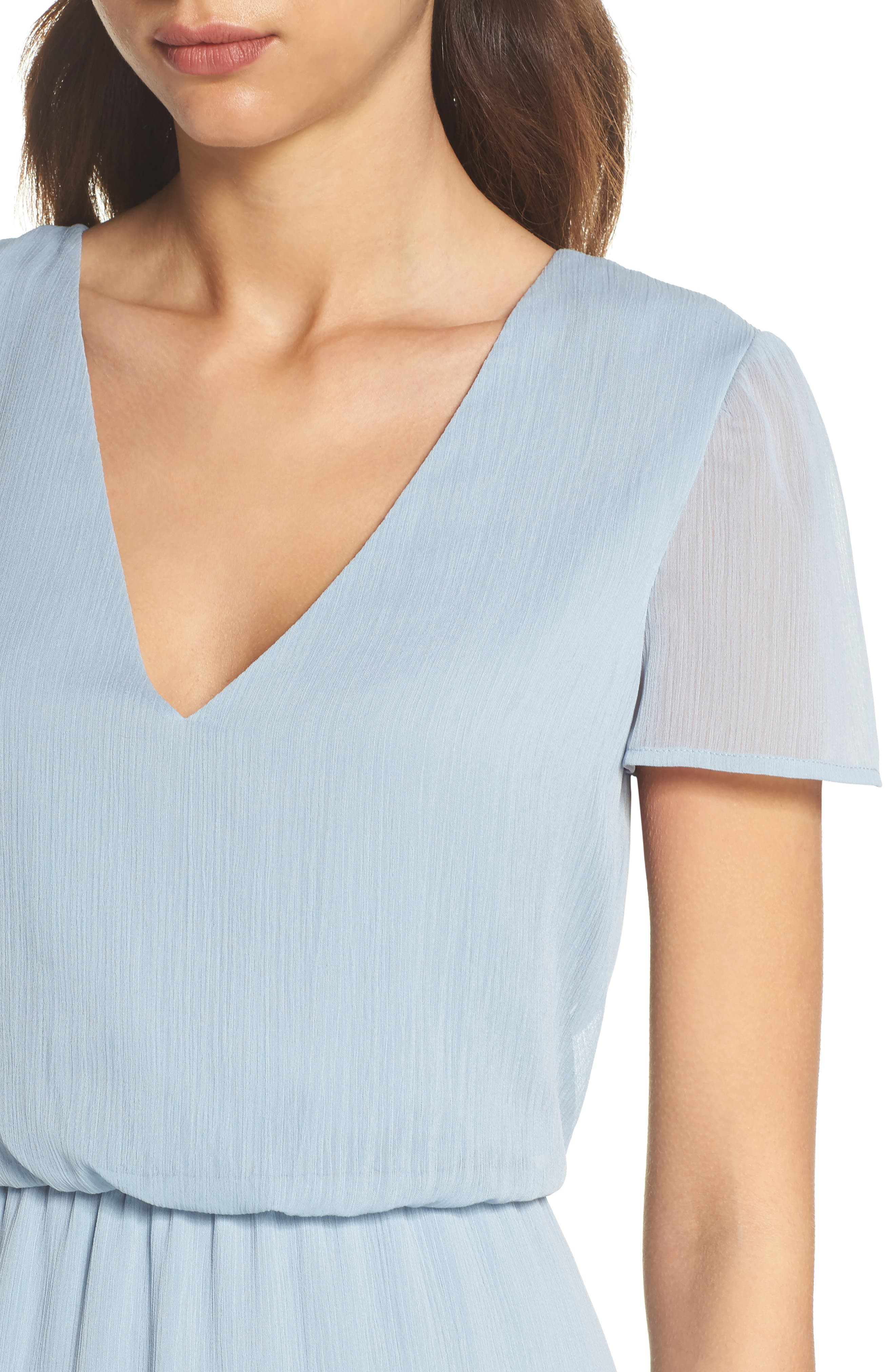 Anna Tie Back Gown,                             Alternate thumbnail 4, color,                             Blue Cloud
