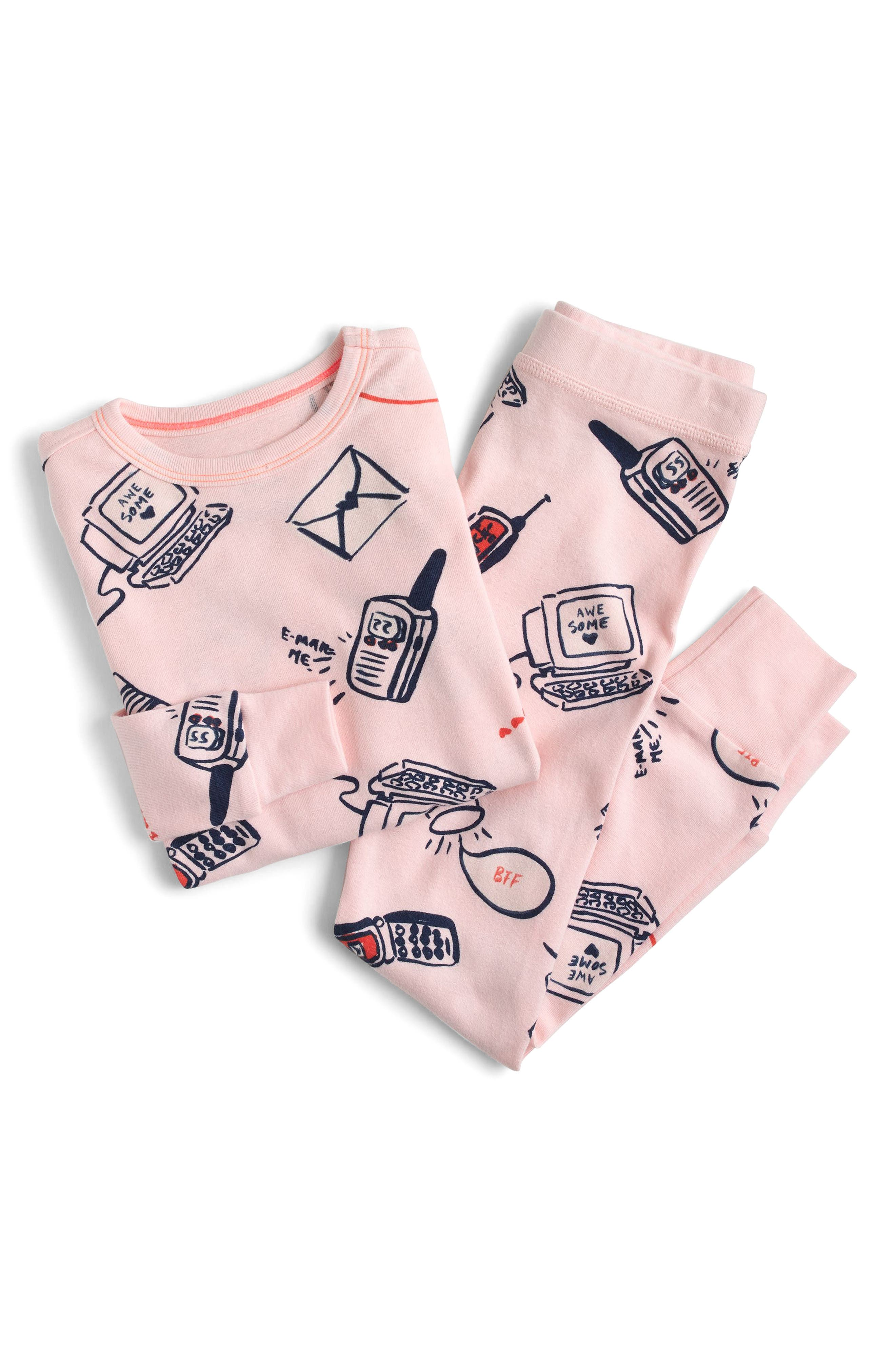 Long Distance Relationship Fitted Two-Piece Pajamas,                         Main,                         color, Ballet Pink