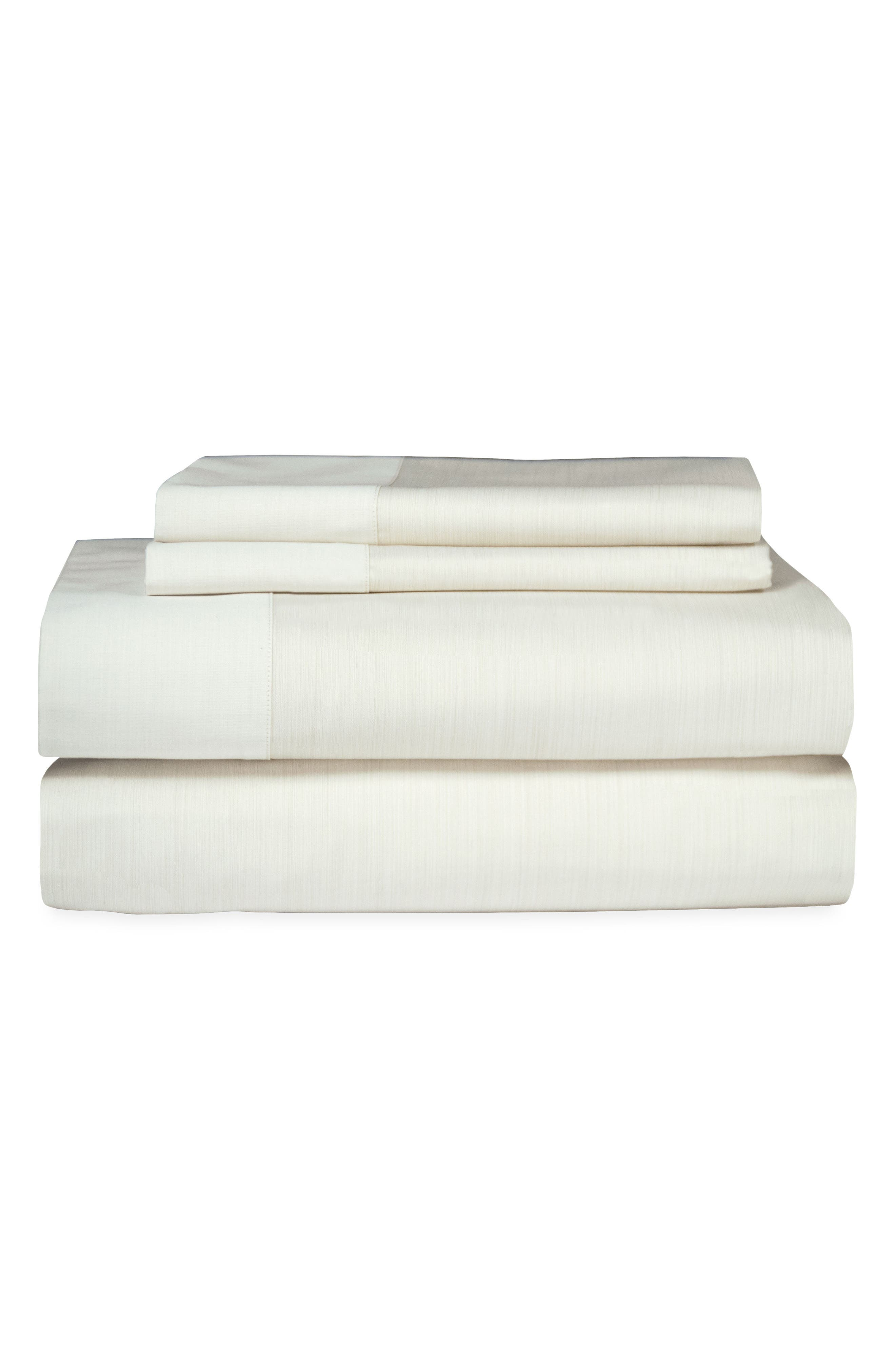 Striated Band 400 Thread Count Fitted Sheet,                             Main thumbnail 1, color,                             Ivory