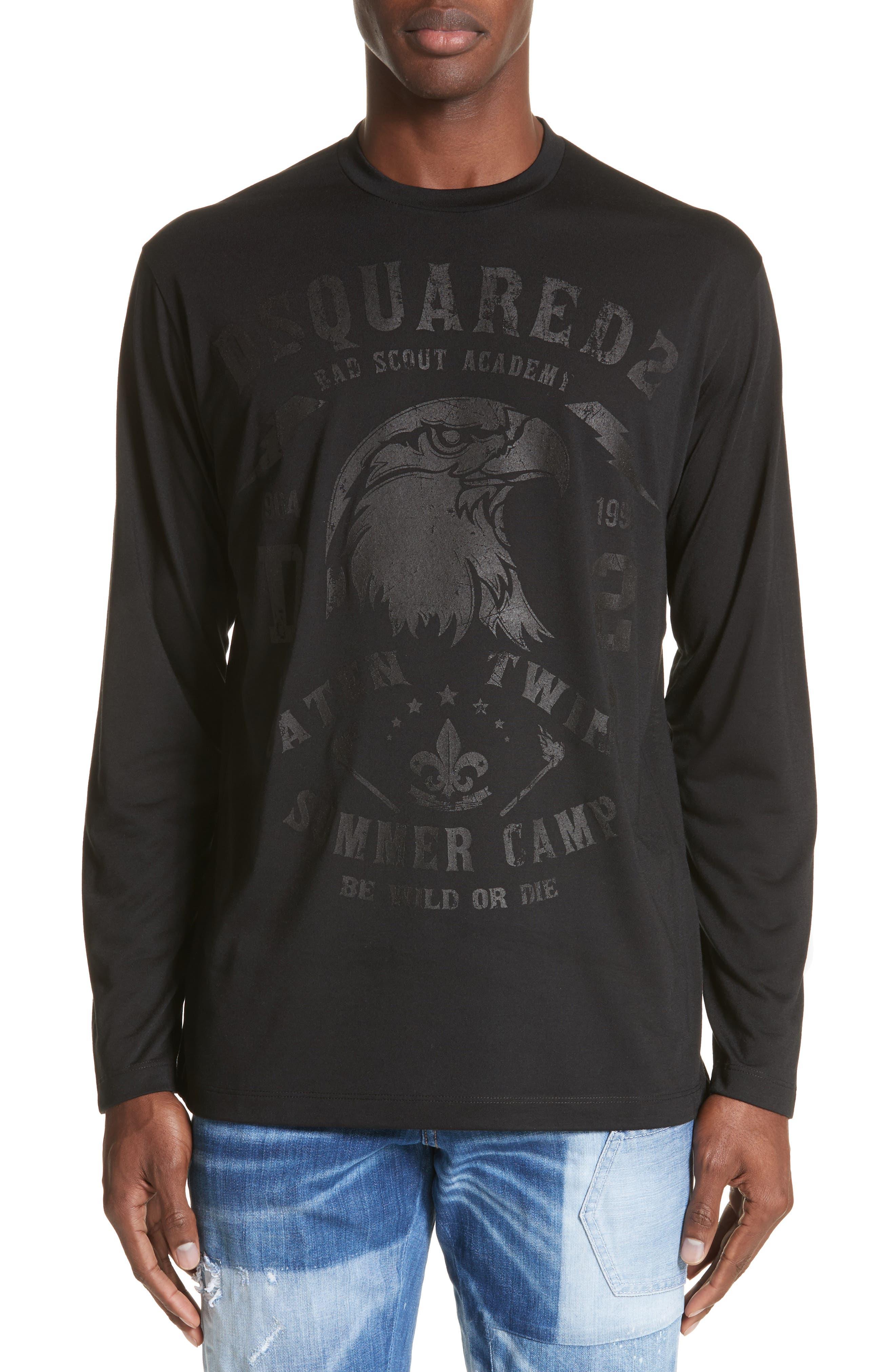 Logo Graphic Long Sleeve T-Shirt,                         Main,                         color, Black