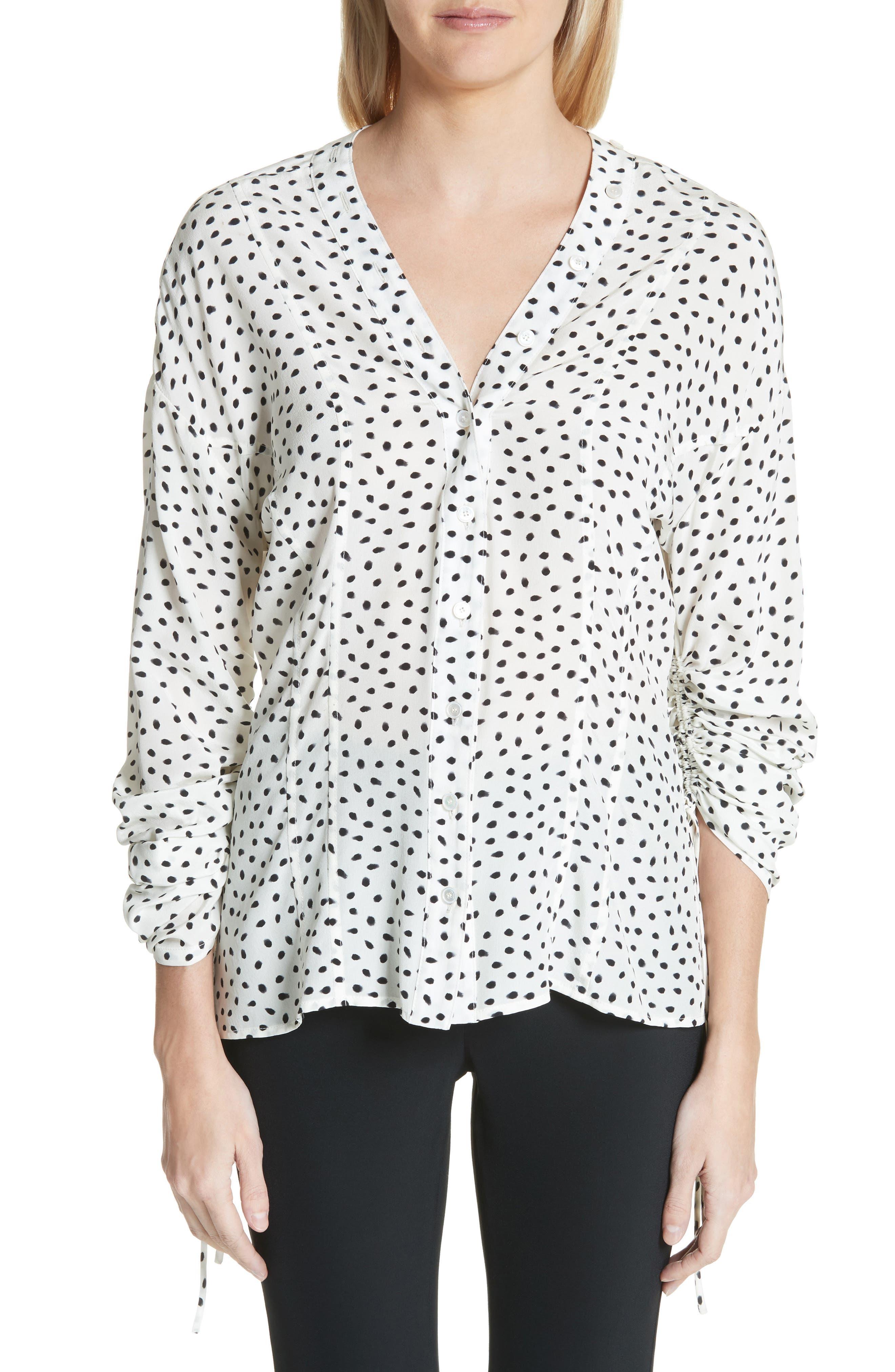 Polka Dot Ruched Sleeve Silk Shirt,                         Main,                         color, Chalk Black
