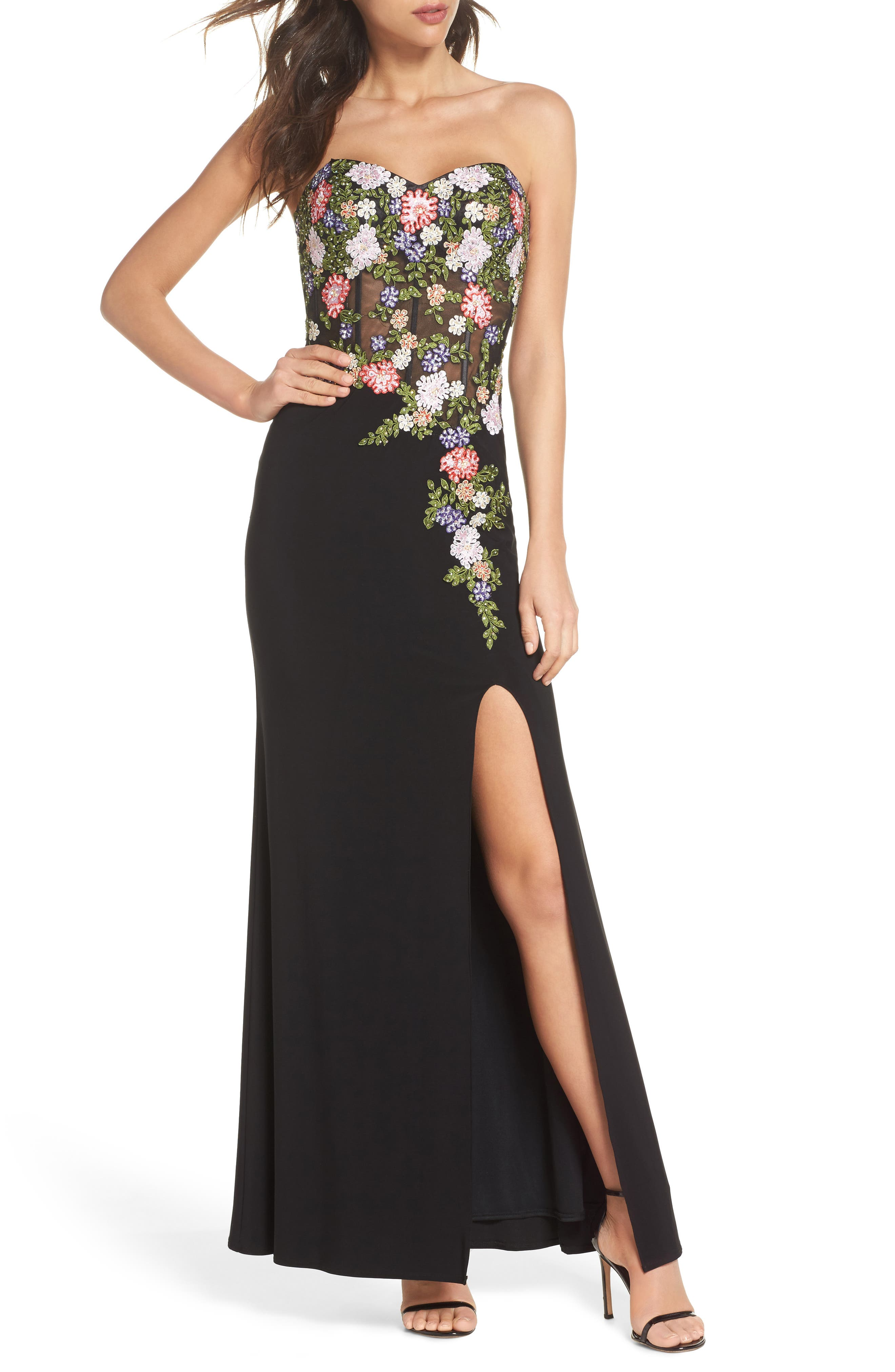 Embroidered Strapless Gown,                             Main thumbnail 1, color,                             Black/ Multi