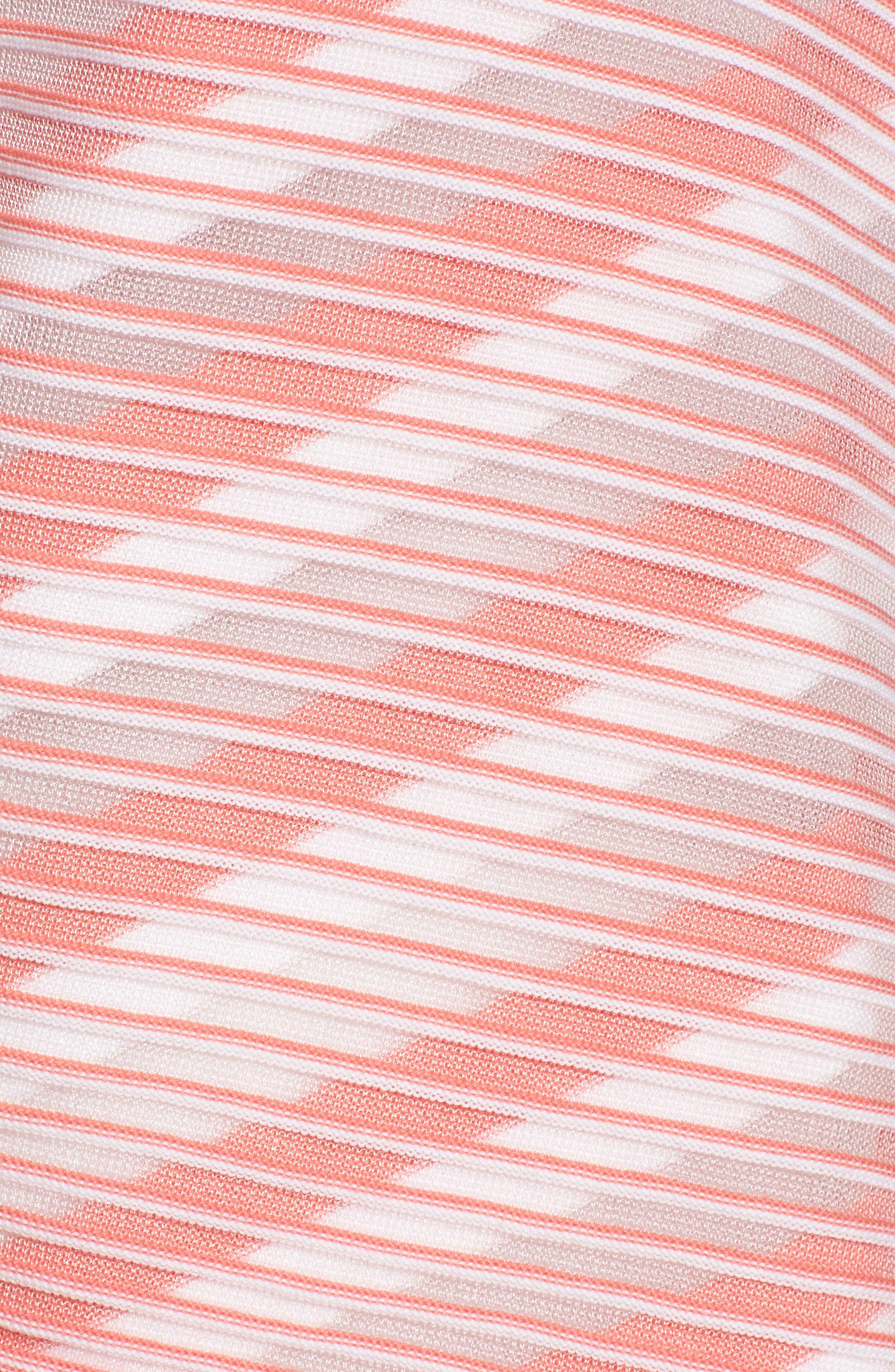 Sheer Stripe Knit Tunic,                             Alternate thumbnail 5, color,                             Daylily/ White