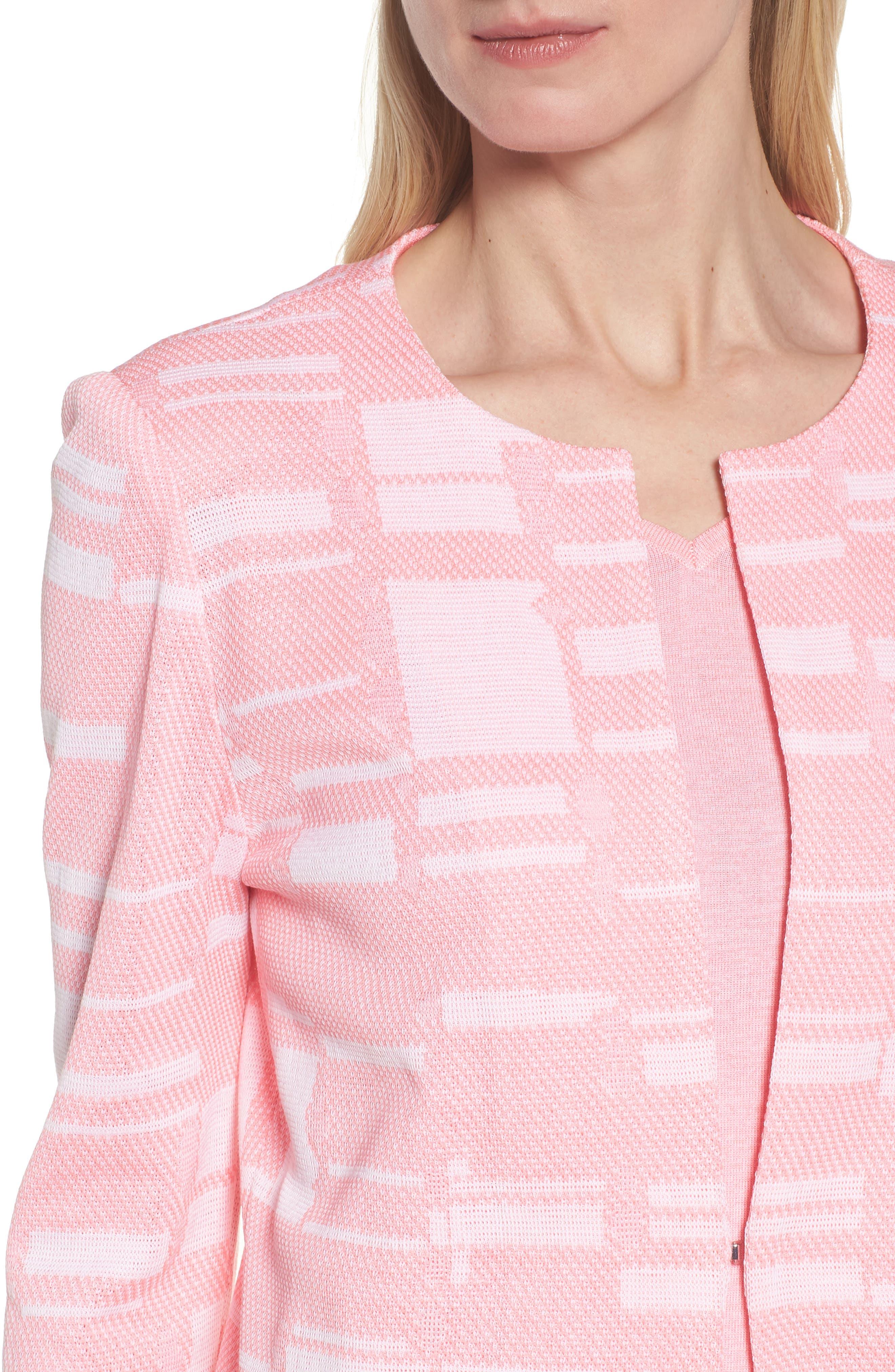 Multi Contrast Pattern Long Jacket,                             Alternate thumbnail 4, color,                             Pink Lemonade/ White/ Black