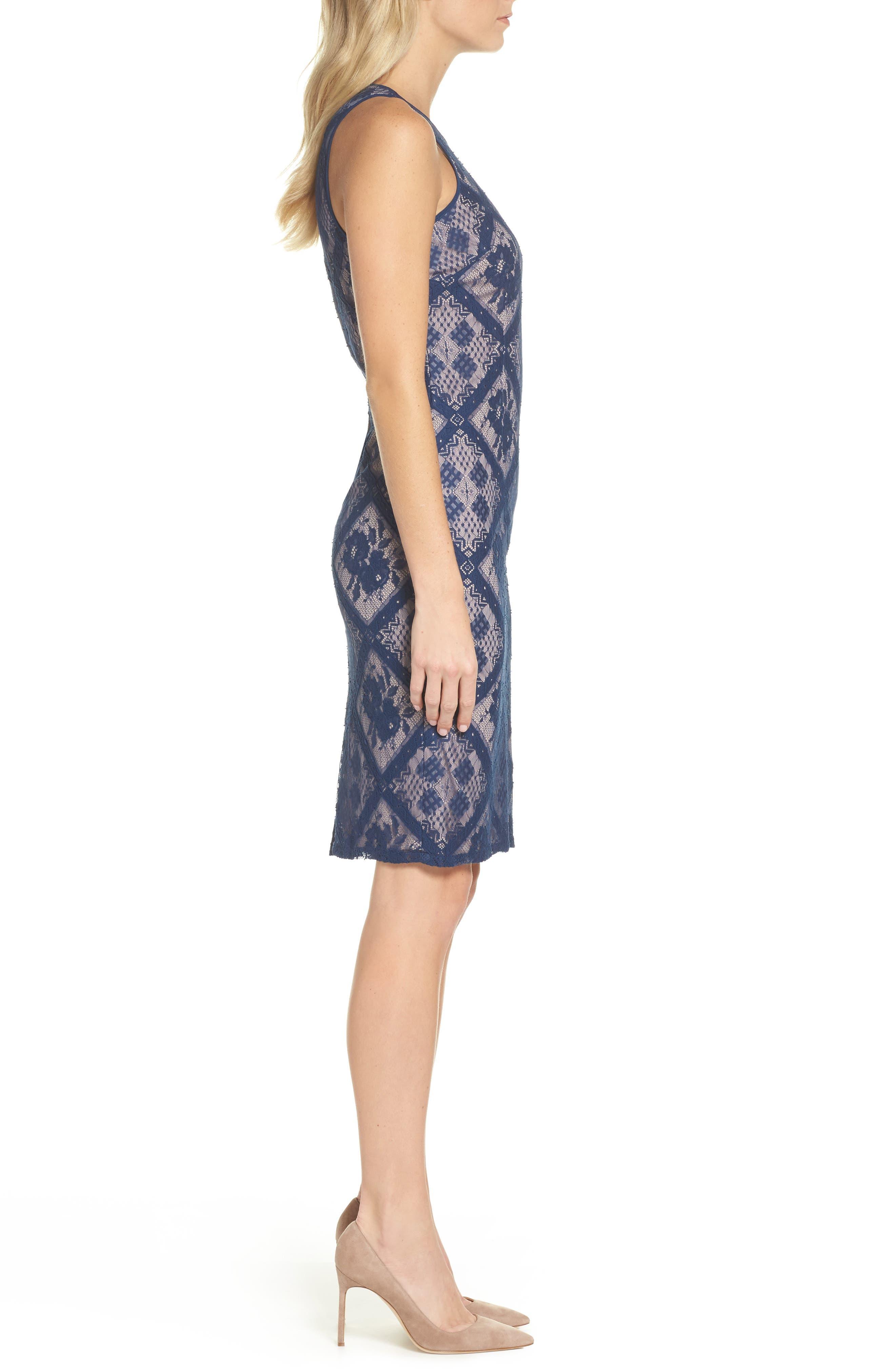 Floral Lace Sheath Dress,                             Alternate thumbnail 3, color,                             Navy Sateen