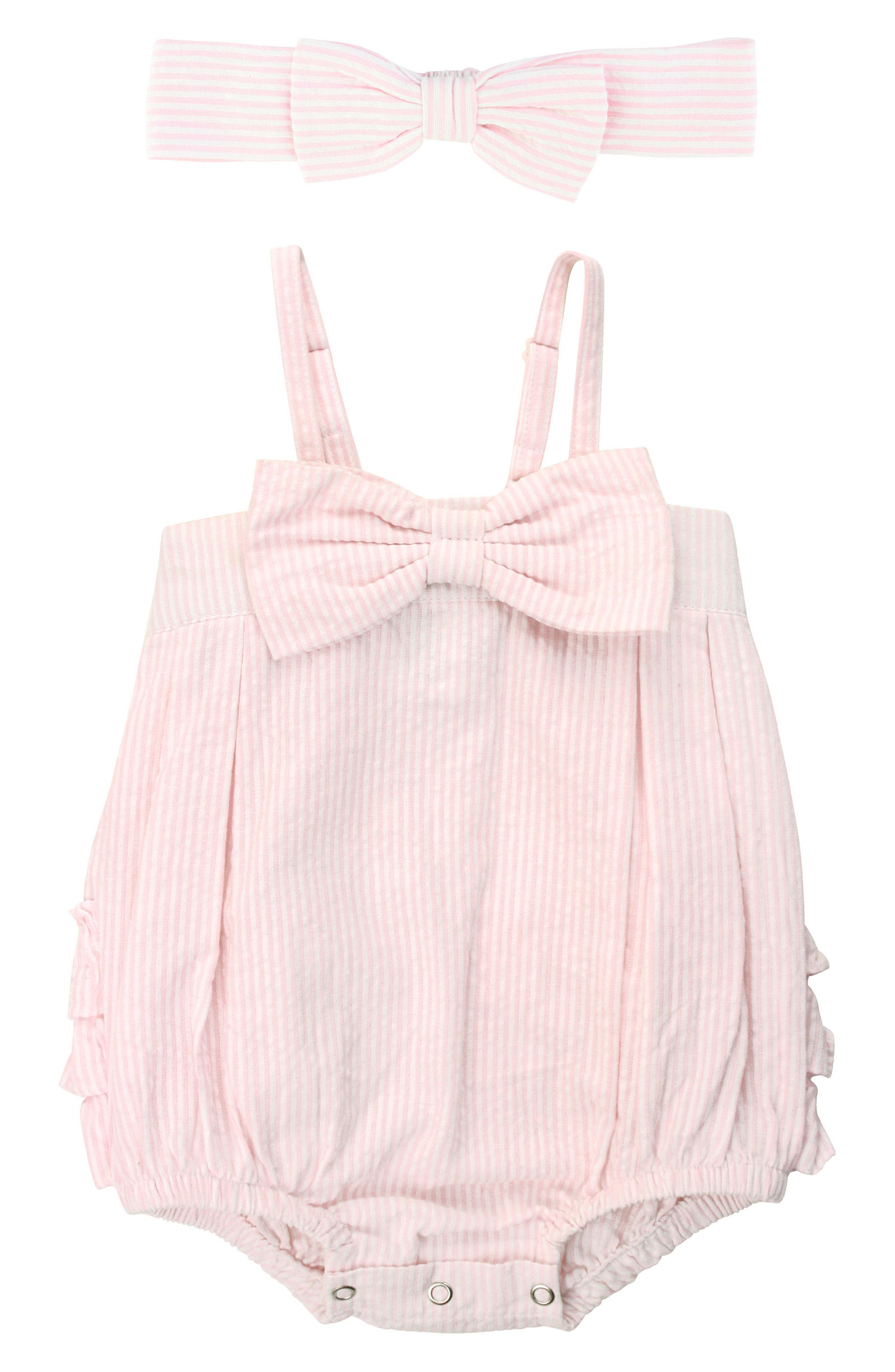 RuffleButts Seersucker Bubble Romper & Head Wrap Set (Baby Girls)