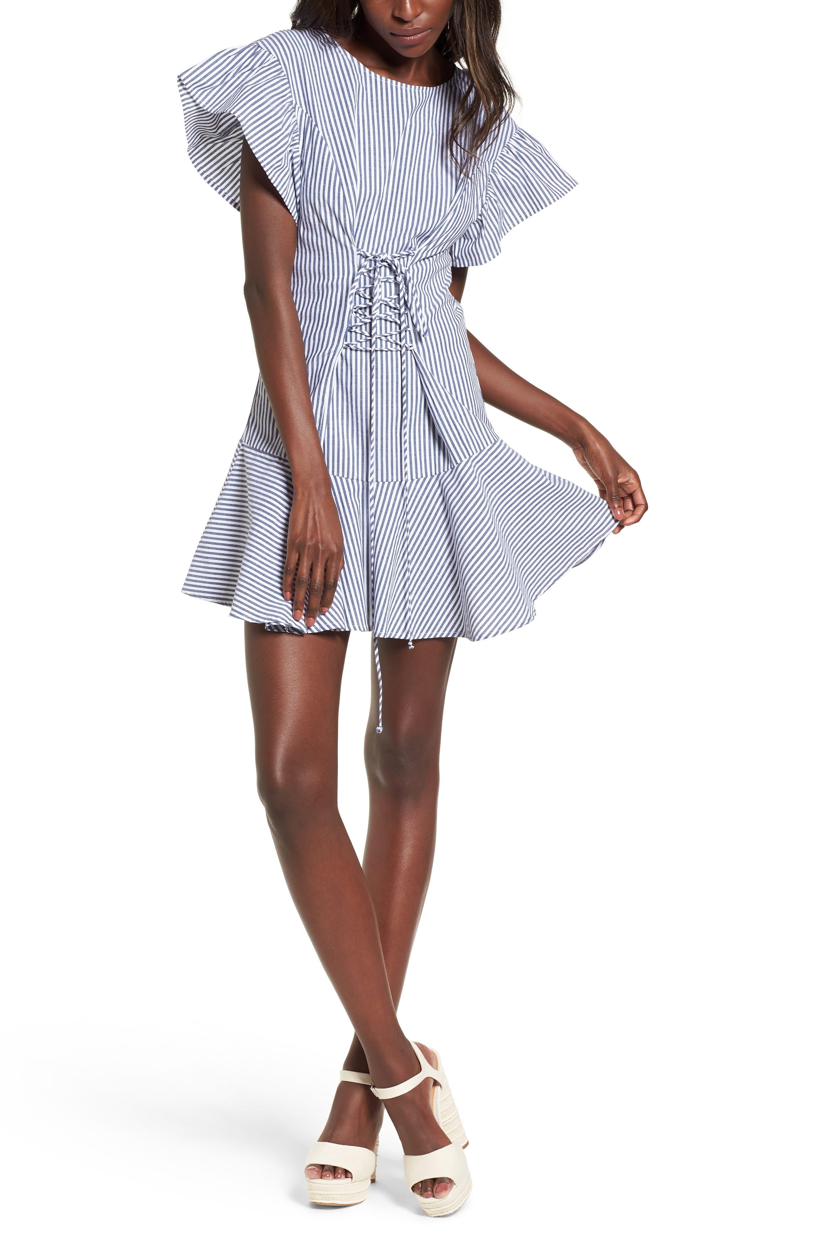 Lace-Up Minidress,                             Main thumbnail 1, color,                             Blue-White Stripe
