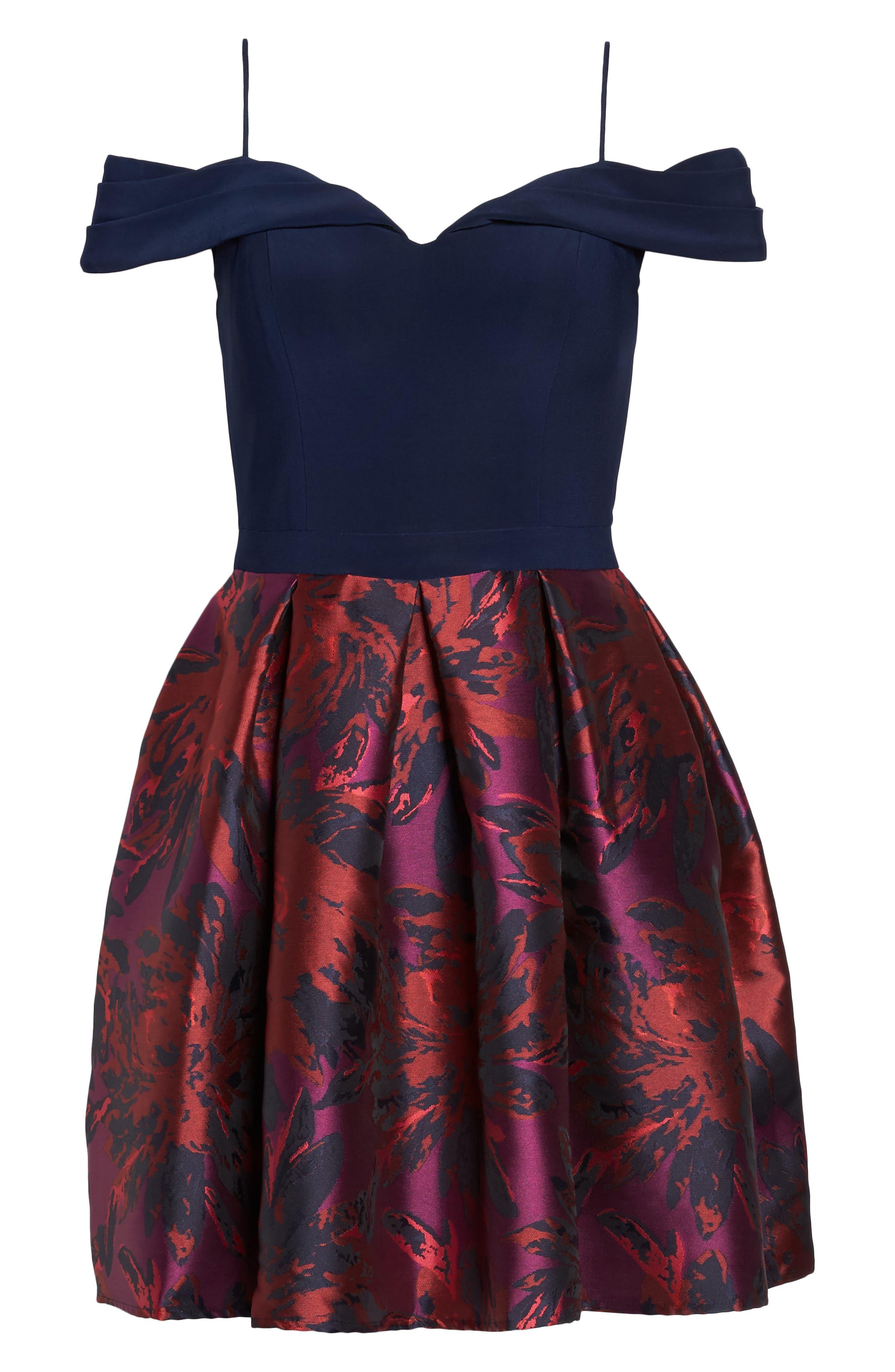 Cold Shoulder Fit & Flare Dress,                             Alternate thumbnail 6, color,                             Navy/ Wine