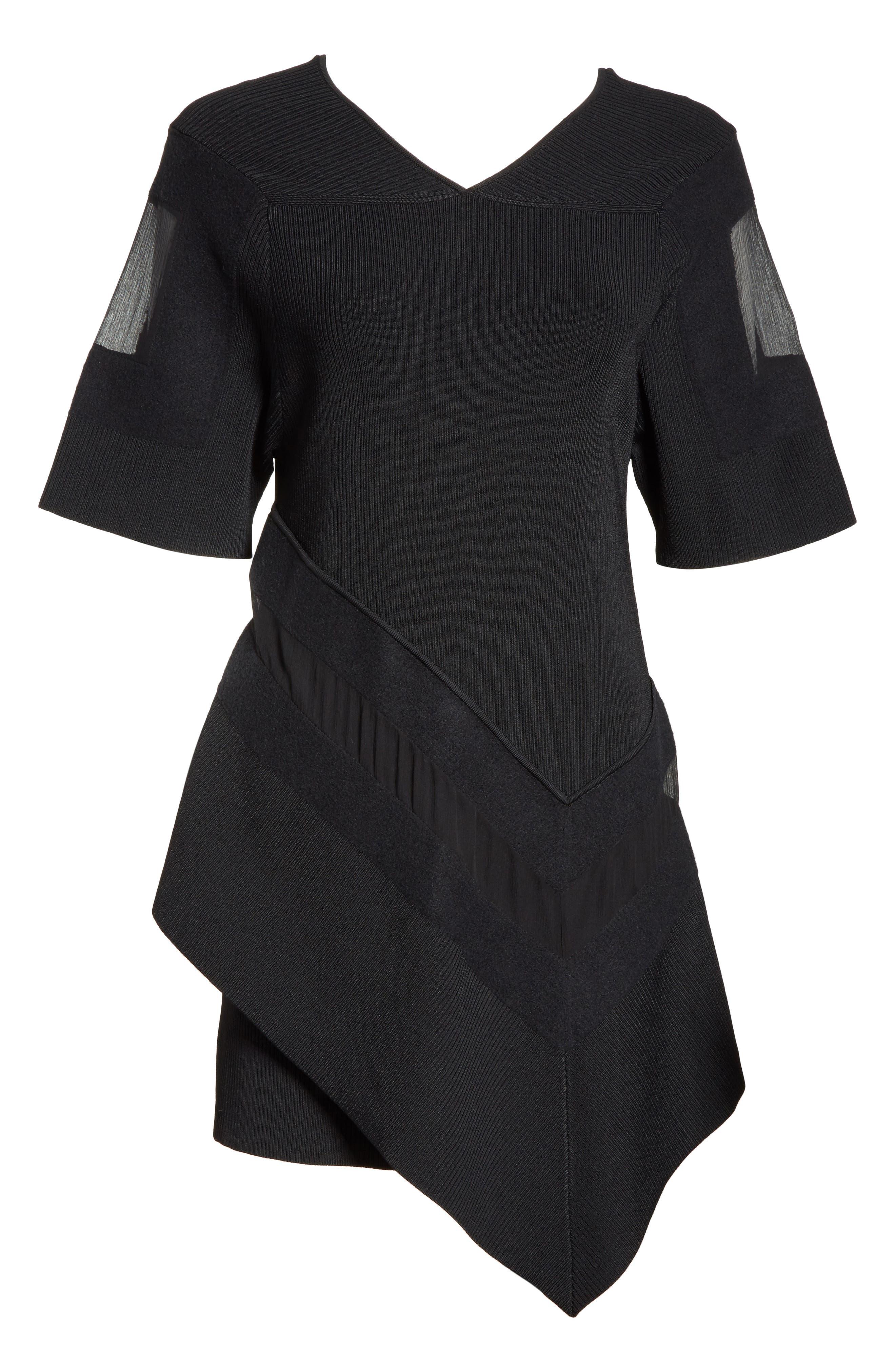 Handkerchief Hem Knit Dress,                             Alternate thumbnail 6, color,                             Black