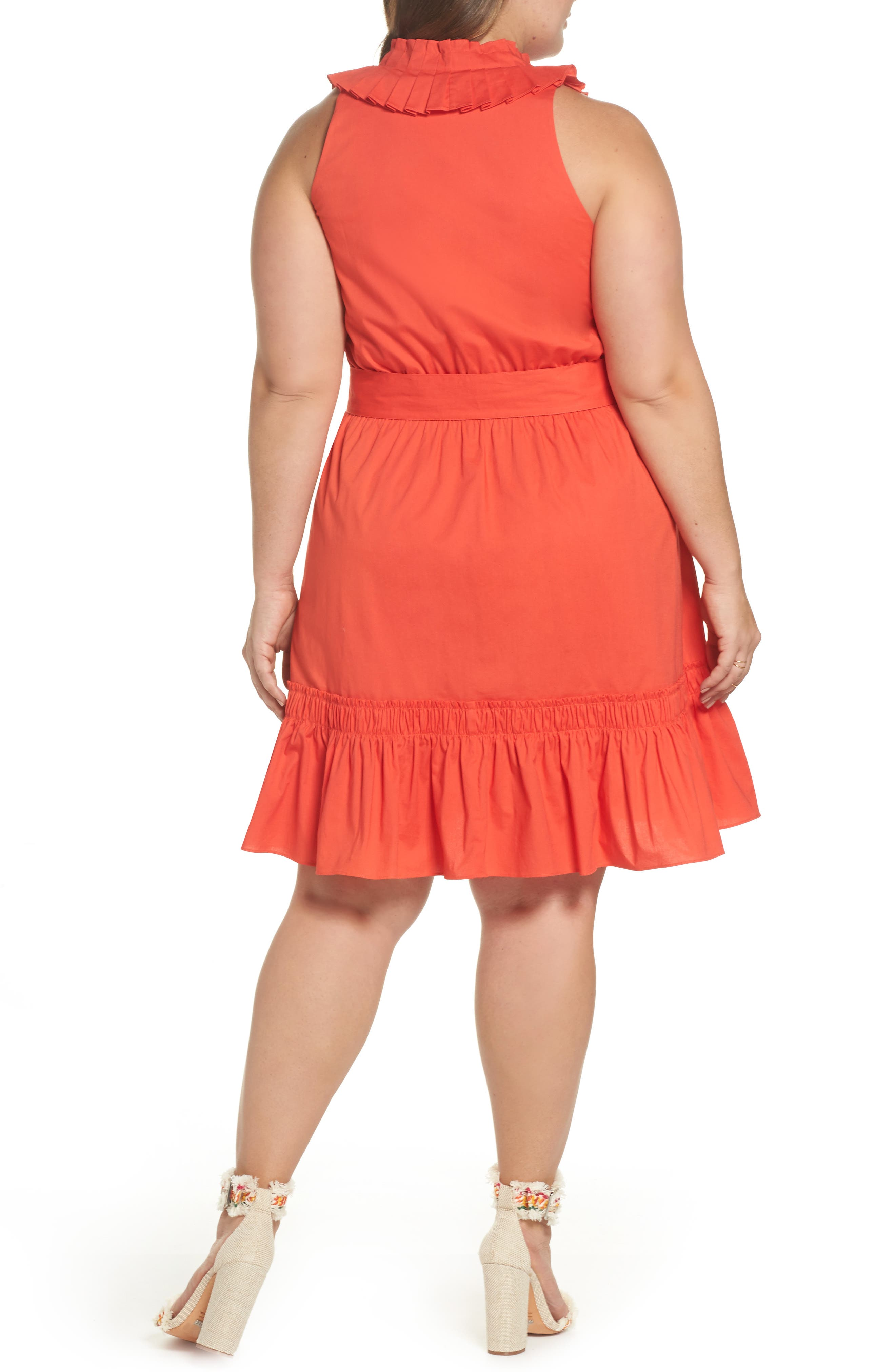 Pleat Collar Fit & Flare Dress,                             Alternate thumbnail 3, color,                             Red Bloom
