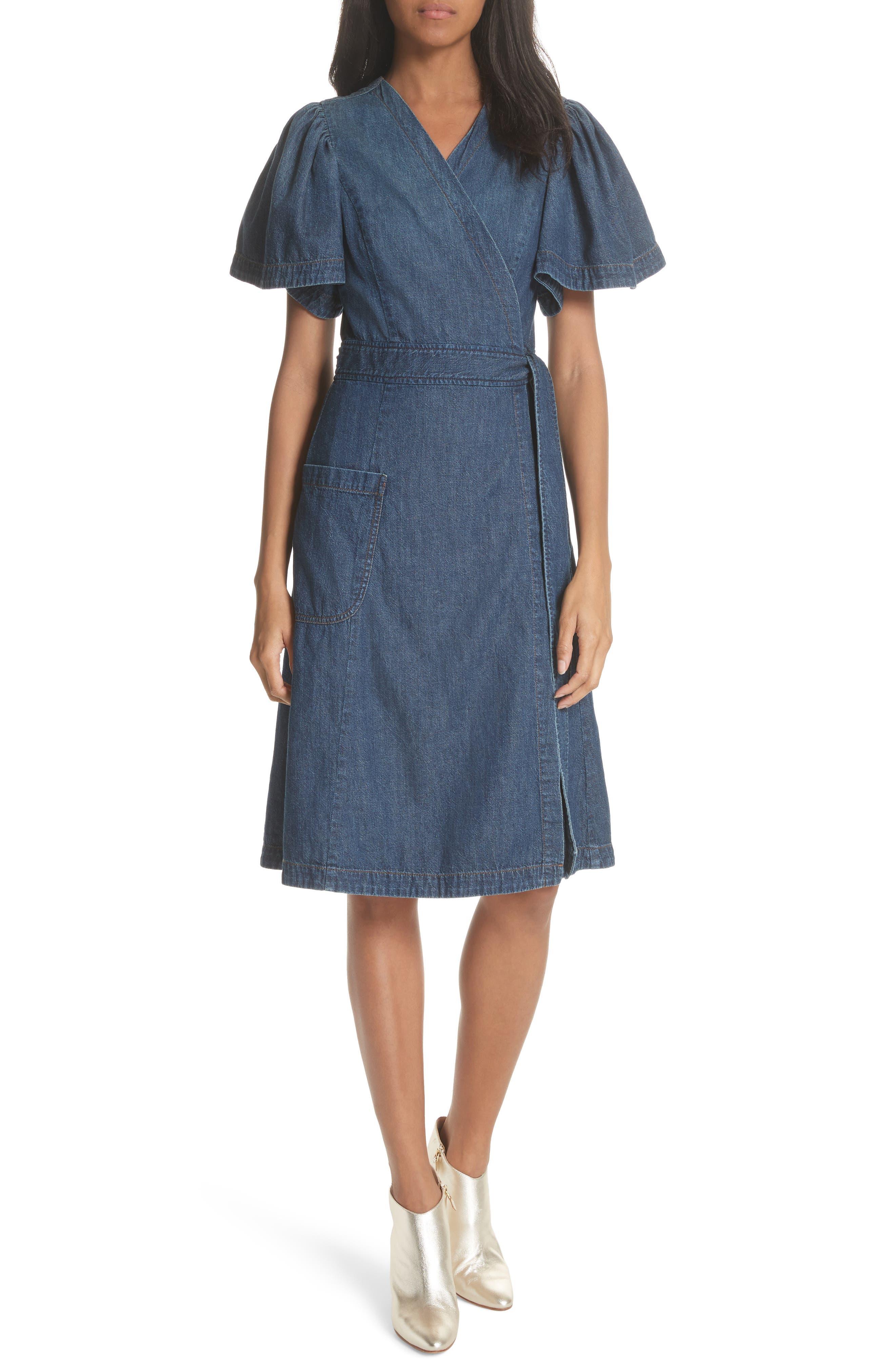 Denim Wrap Dress,                             Main thumbnail 1, color,                             Avignon Wash