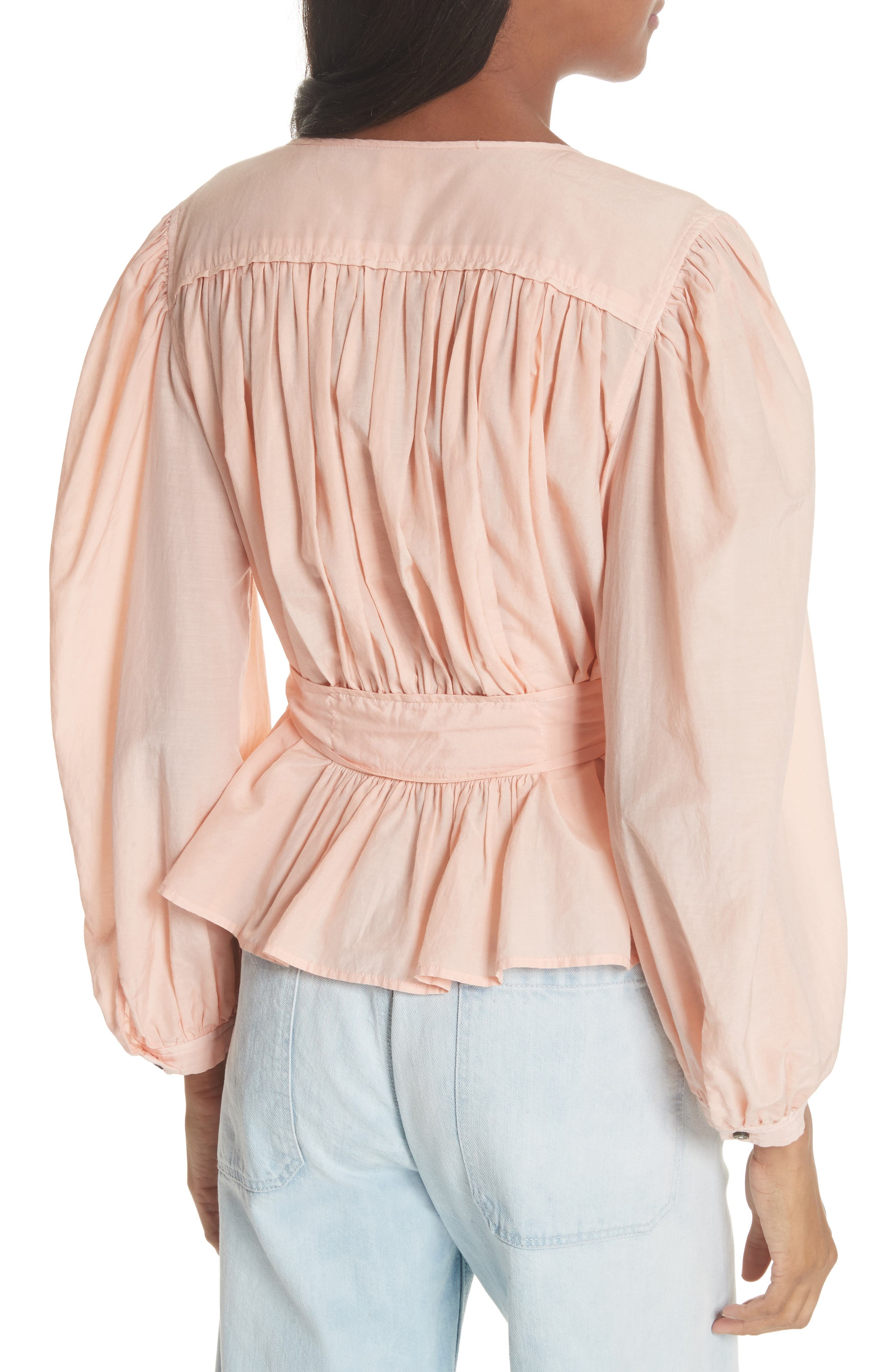 Belted Cotton & Silk Top,                             Alternate thumbnail 2, color,                             Rose Cloud