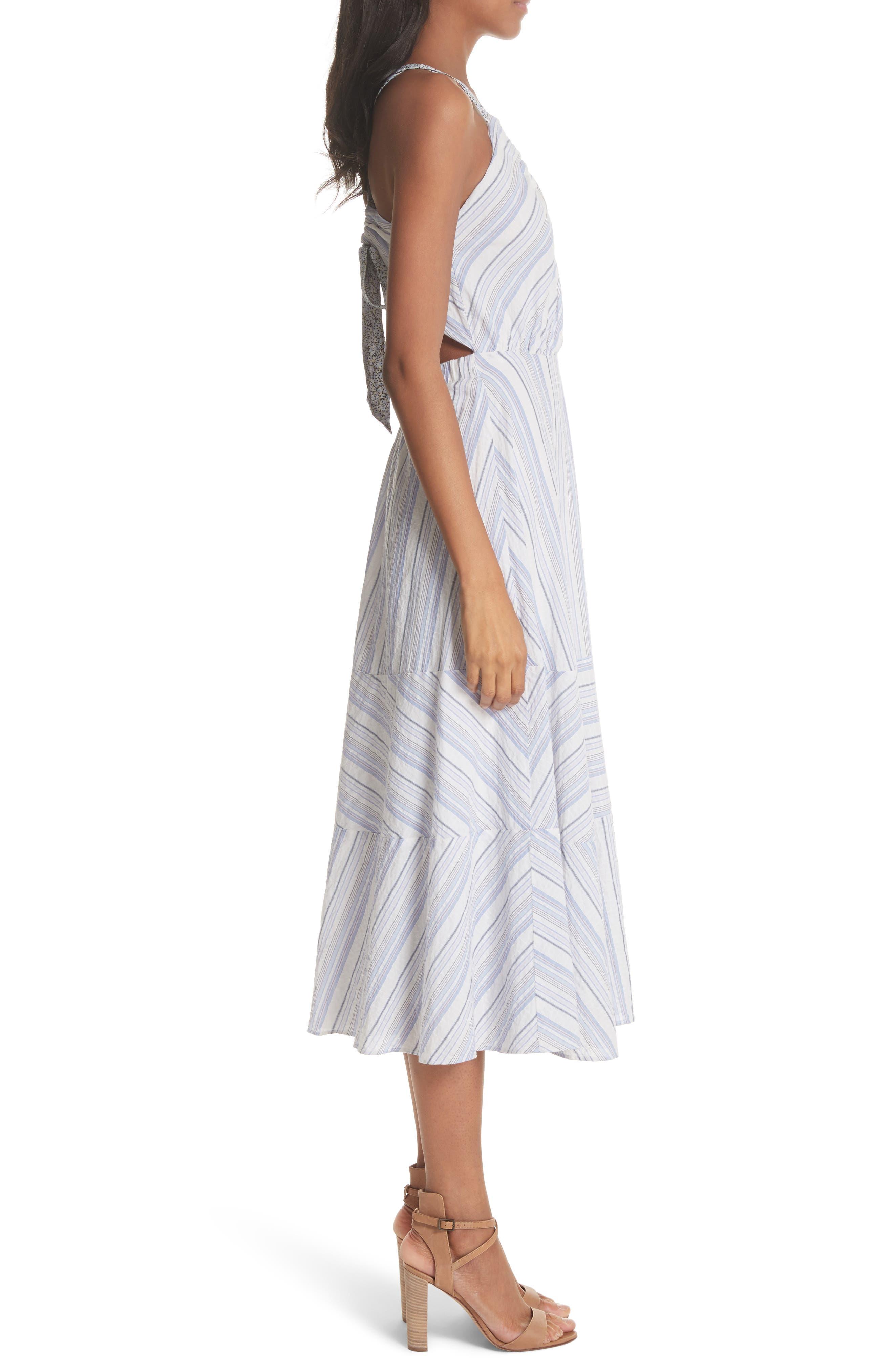 Leila Stripe Midi Dress,                             Alternate thumbnail 3, color,                             Iris Combo