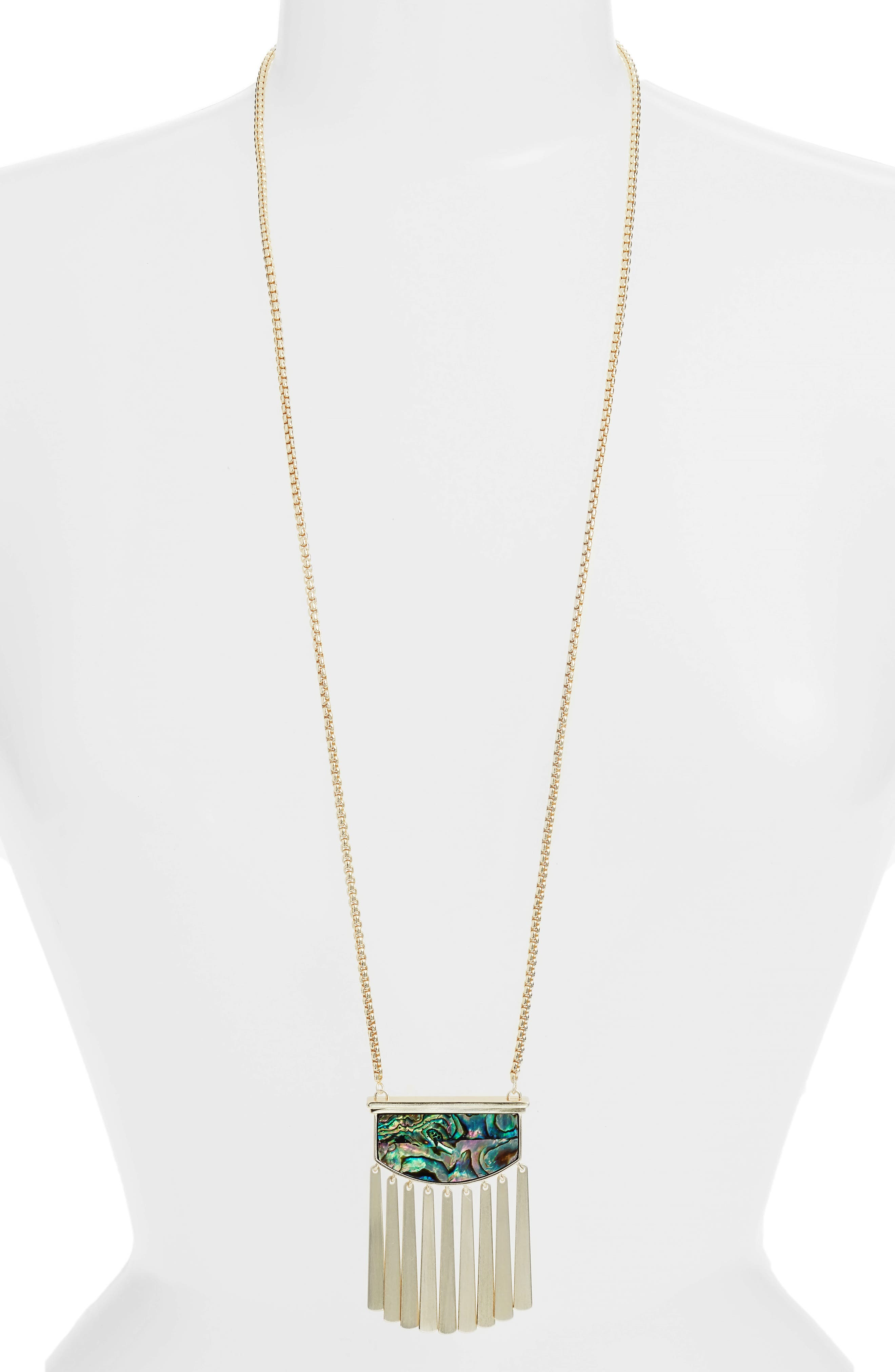 Ellen Stone Necklace,                             Main thumbnail 1, color,                             Abalone Shell/ Gold
