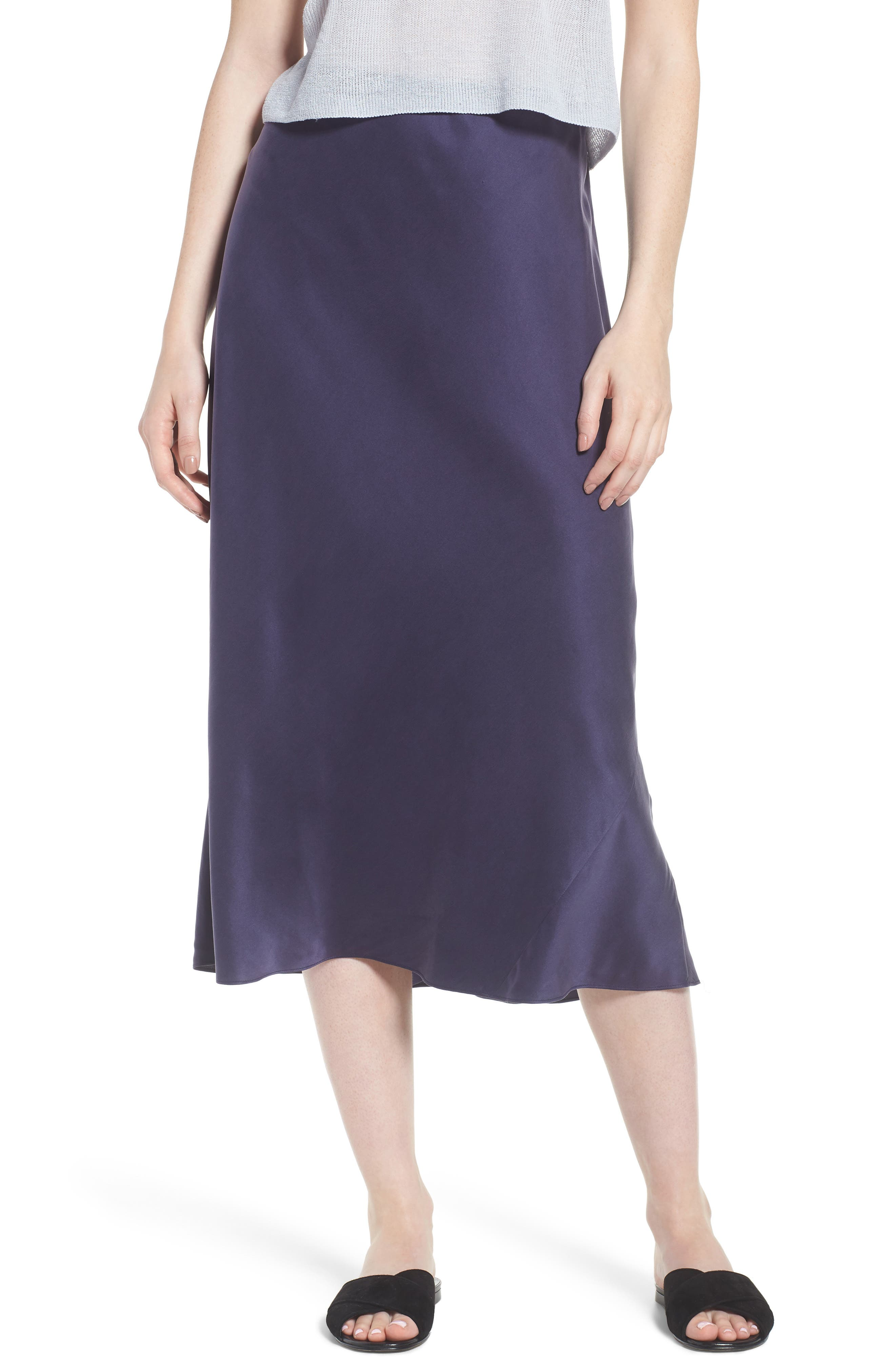 Bias Cut Silk Skirt,                         Main,                         color, Salt Lake