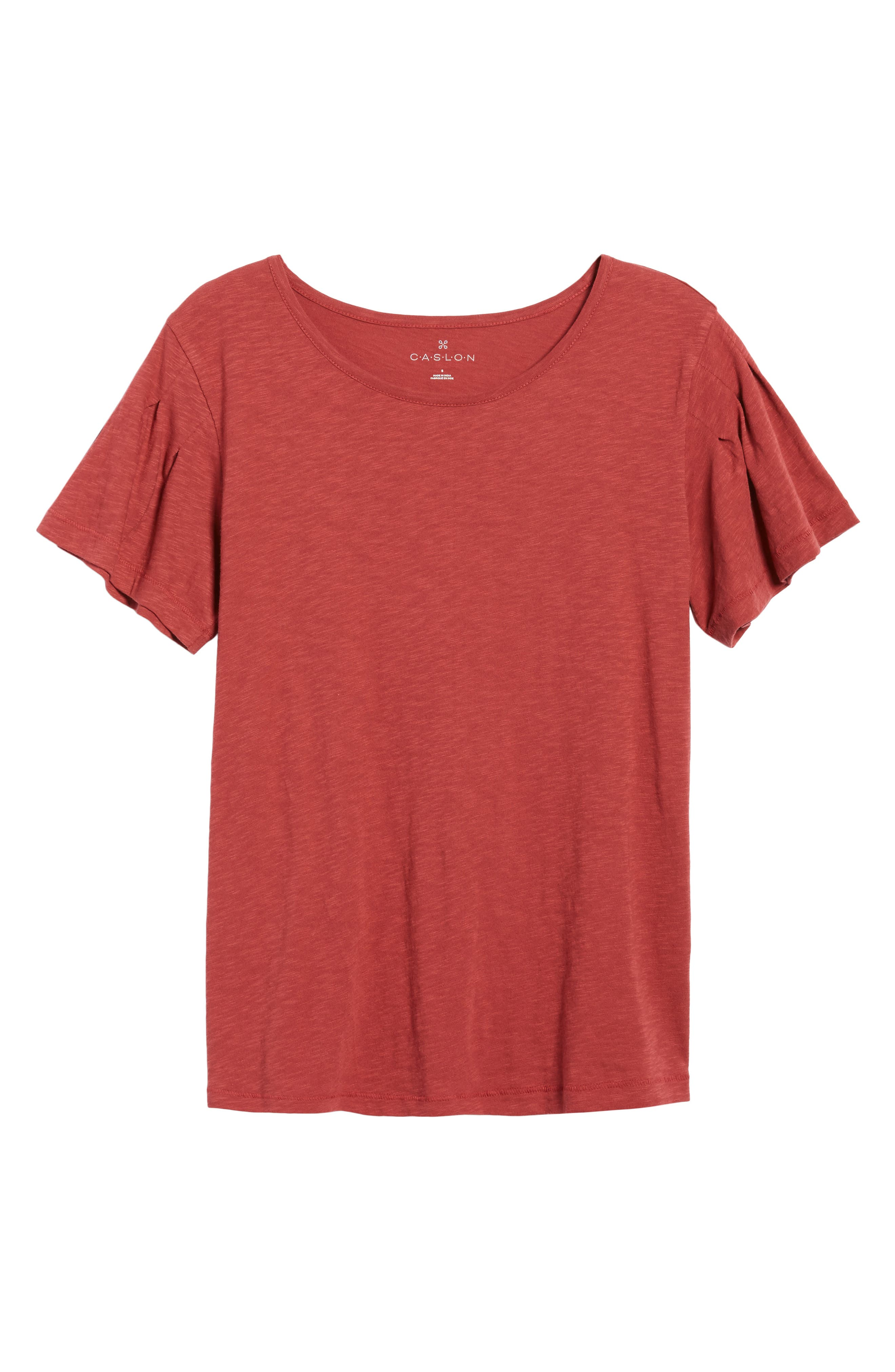 Pleat Sleeve Cotton Tee,                             Alternate thumbnail 6, color,                             Red Earth