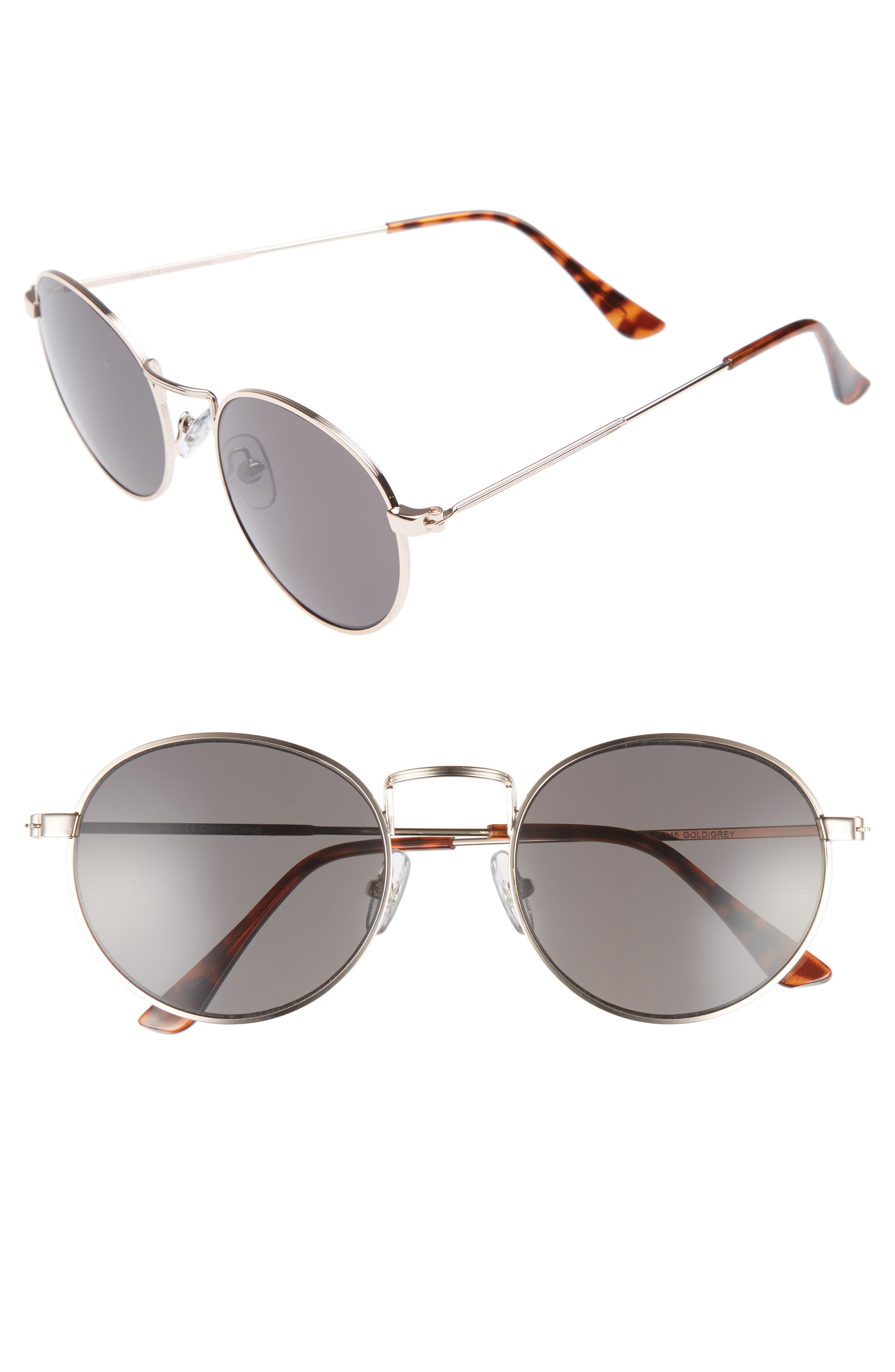 Lewis 54mm Round Sunglasses,                         Main,                         color, Gold/ Grey