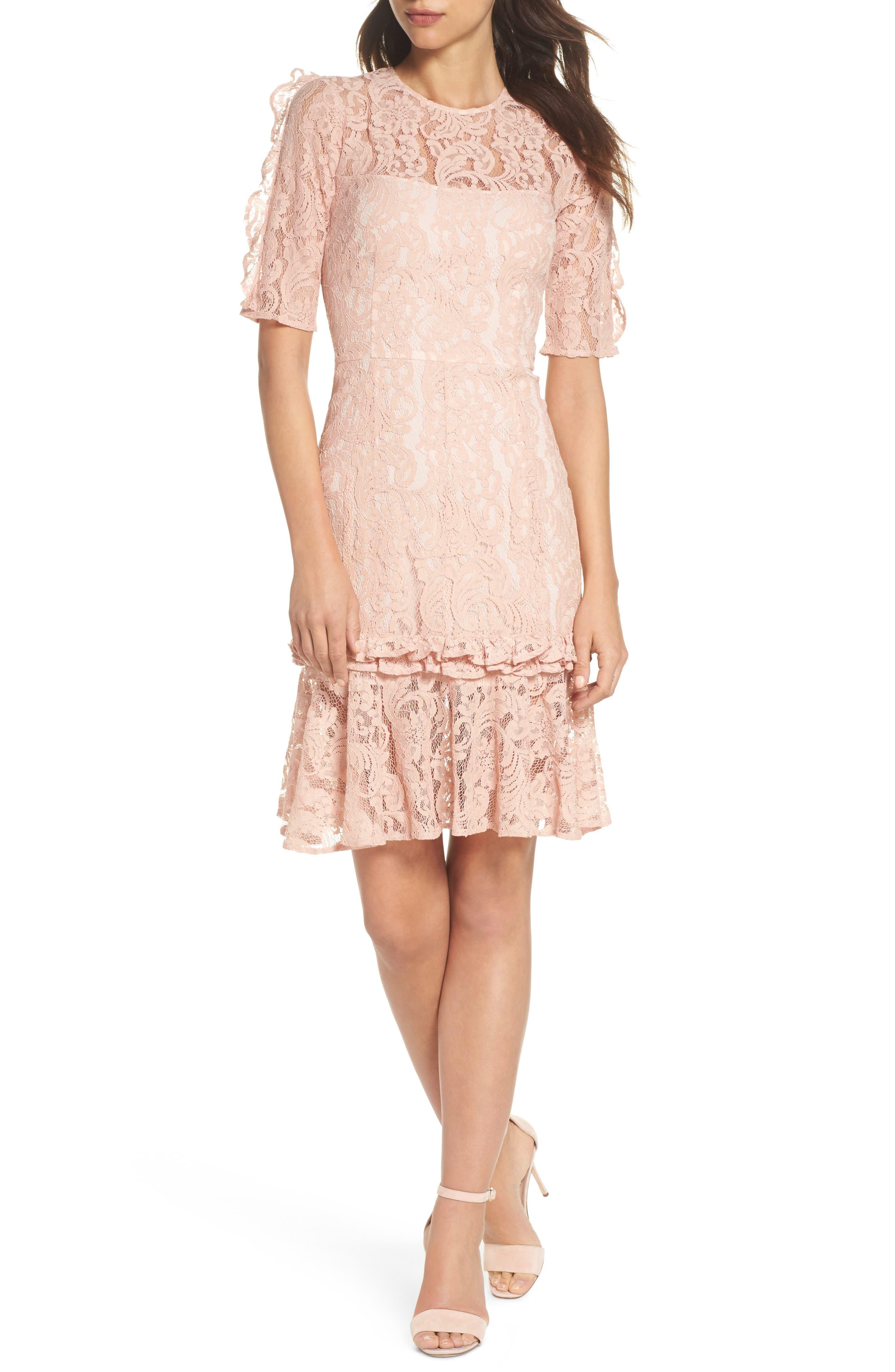 Hushed Dove Lace Dress,                         Main,                         color, Rose Cloud