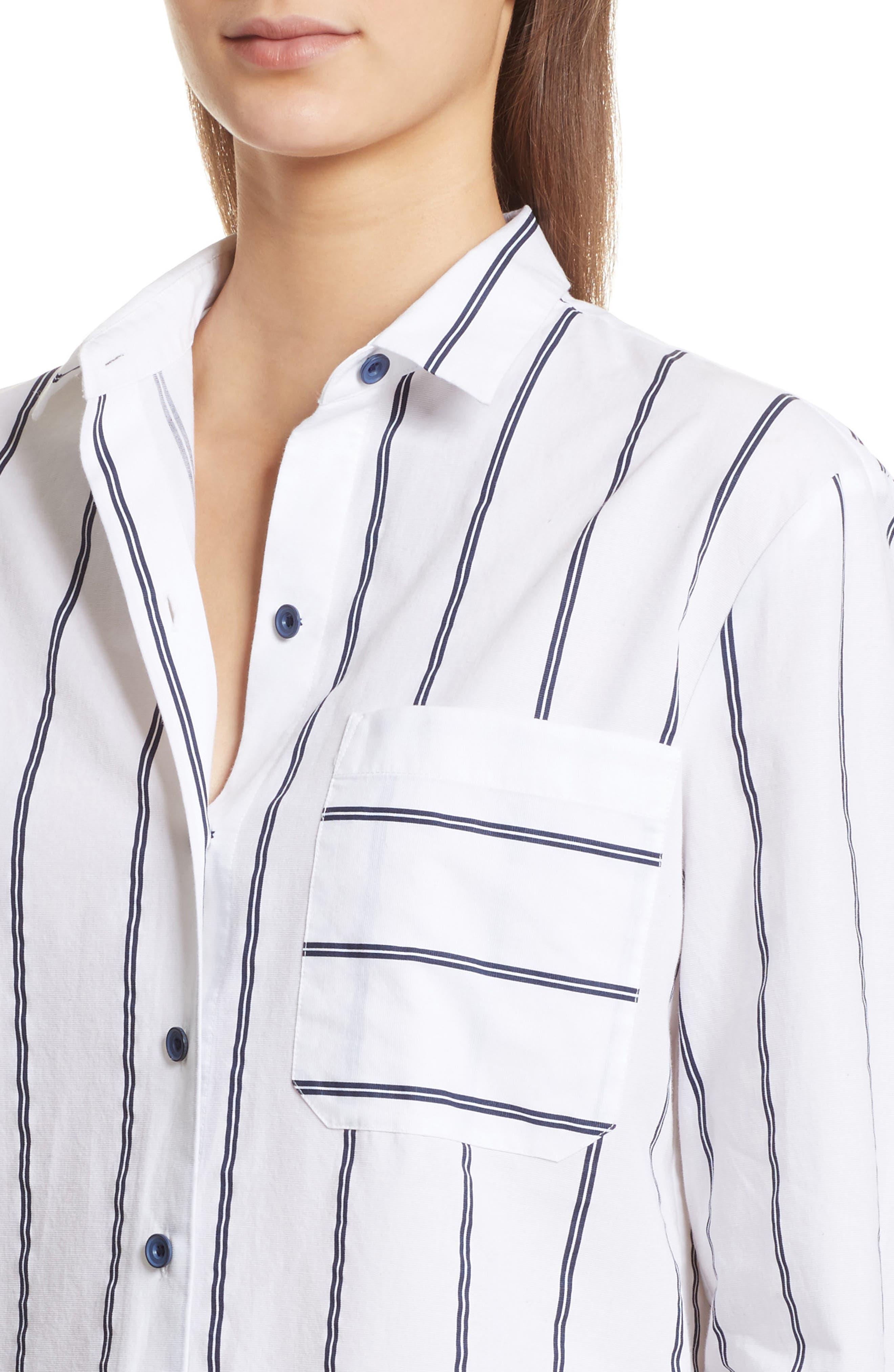 Railroad Stripe Boyfriend Shirt,                             Alternate thumbnail 4, color,                             White/ Midnight Stripe