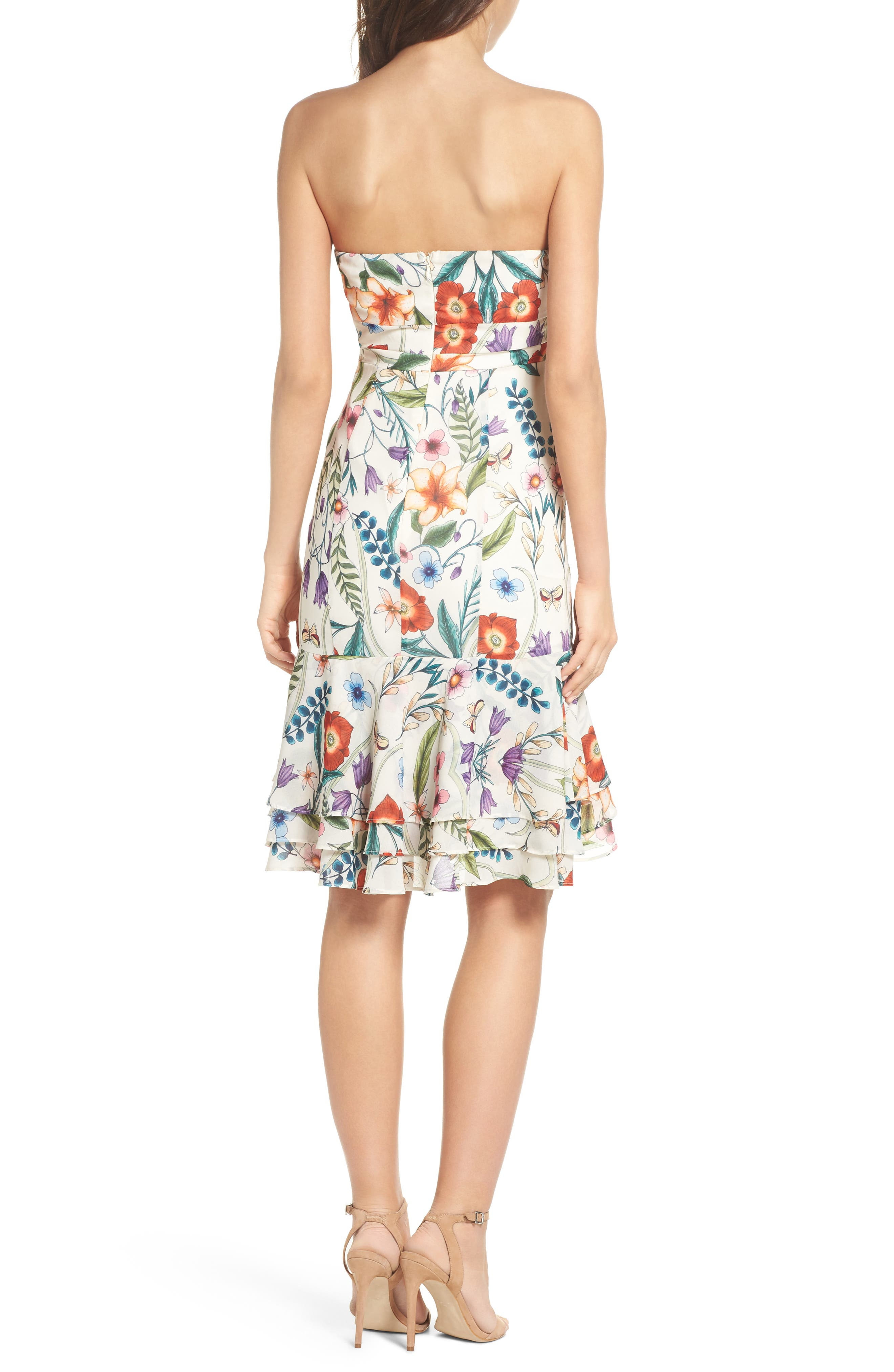 Gardenia Strapless Dress,                             Alternate thumbnail 2, color,                             Print