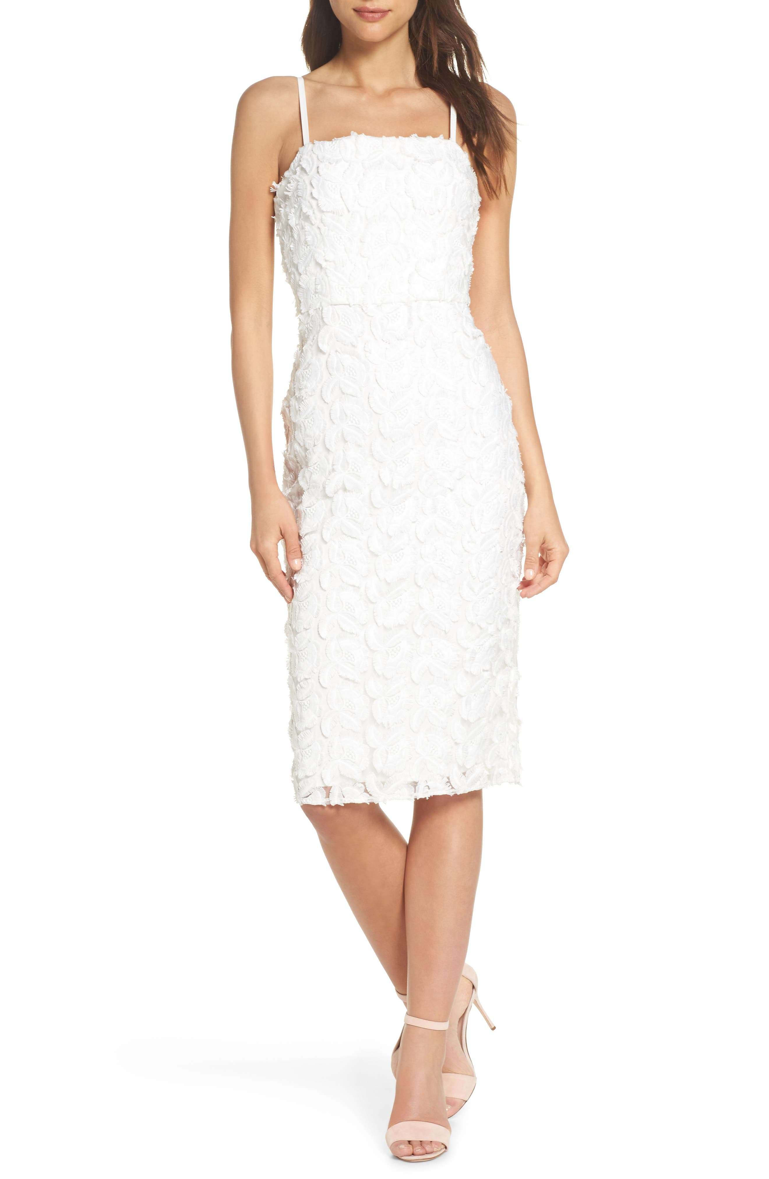 Floral Mirage Embroidered Lace Dress,                             Main thumbnail 1, color,                             Gardenia