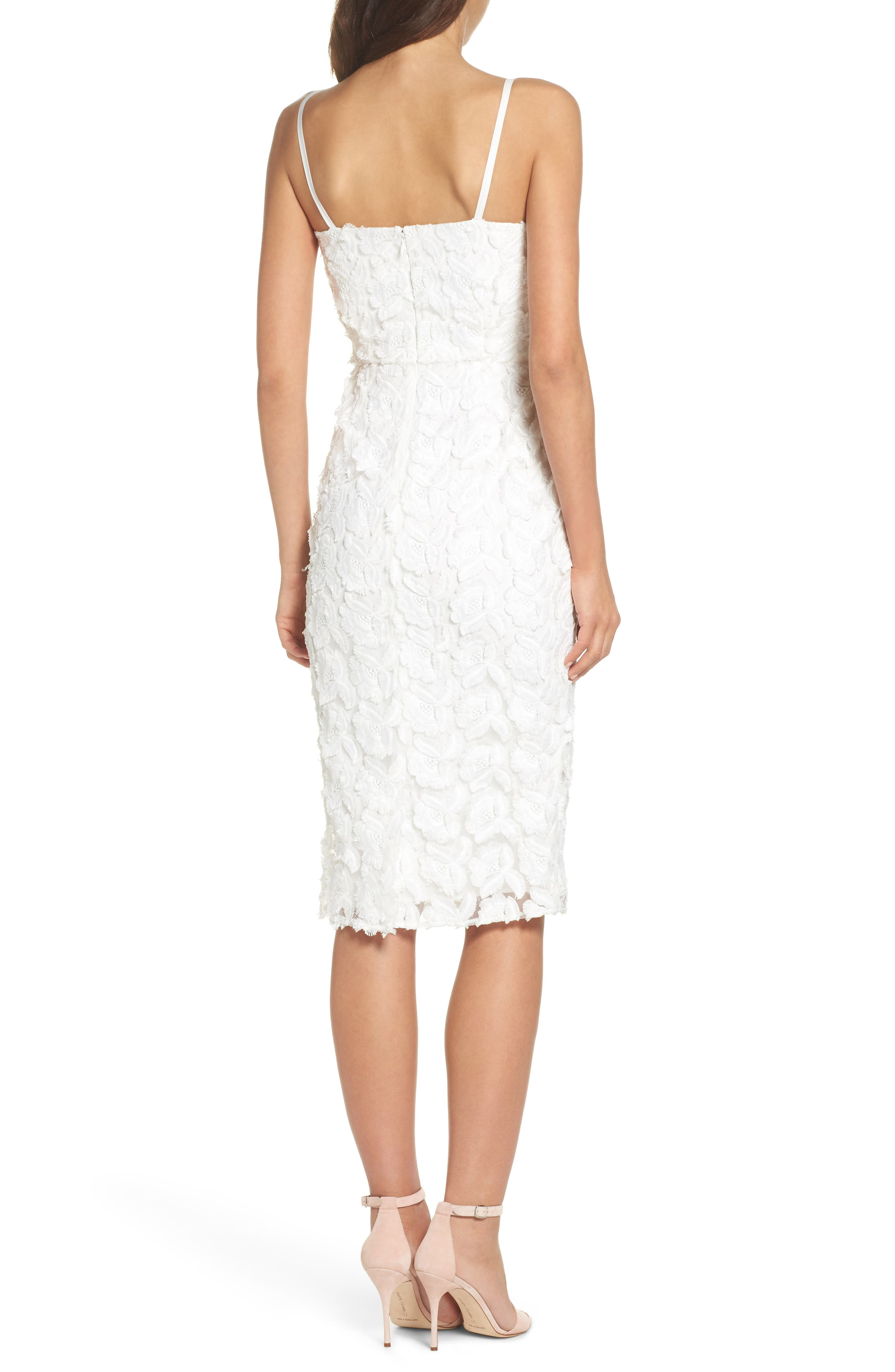 Floral Mirage Embroidered Lace Dress,                             Alternate thumbnail 2, color,                             Gardenia