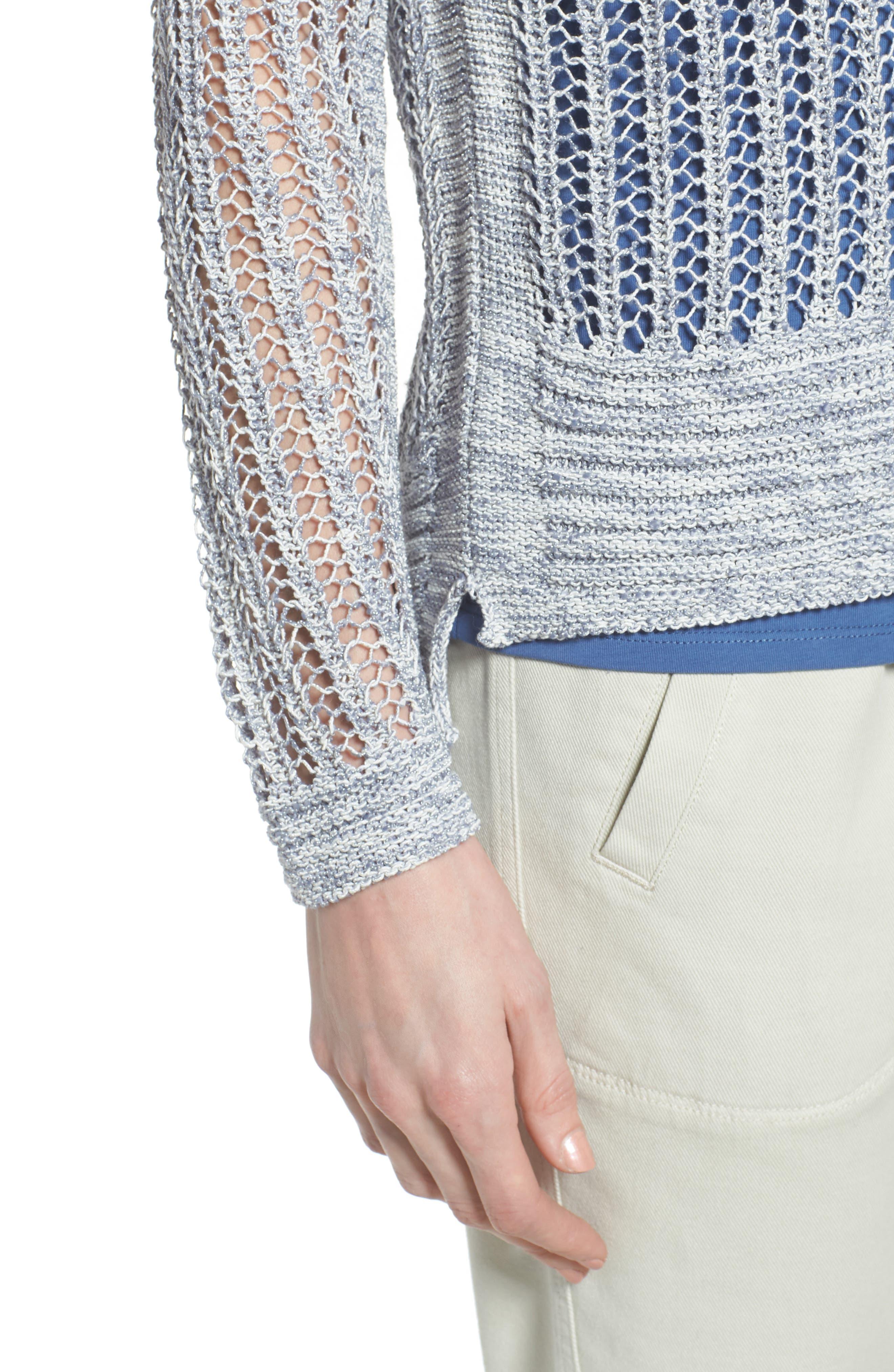 Open Stitch Sweater,                             Alternate thumbnail 4, color,                             Indigo Mix