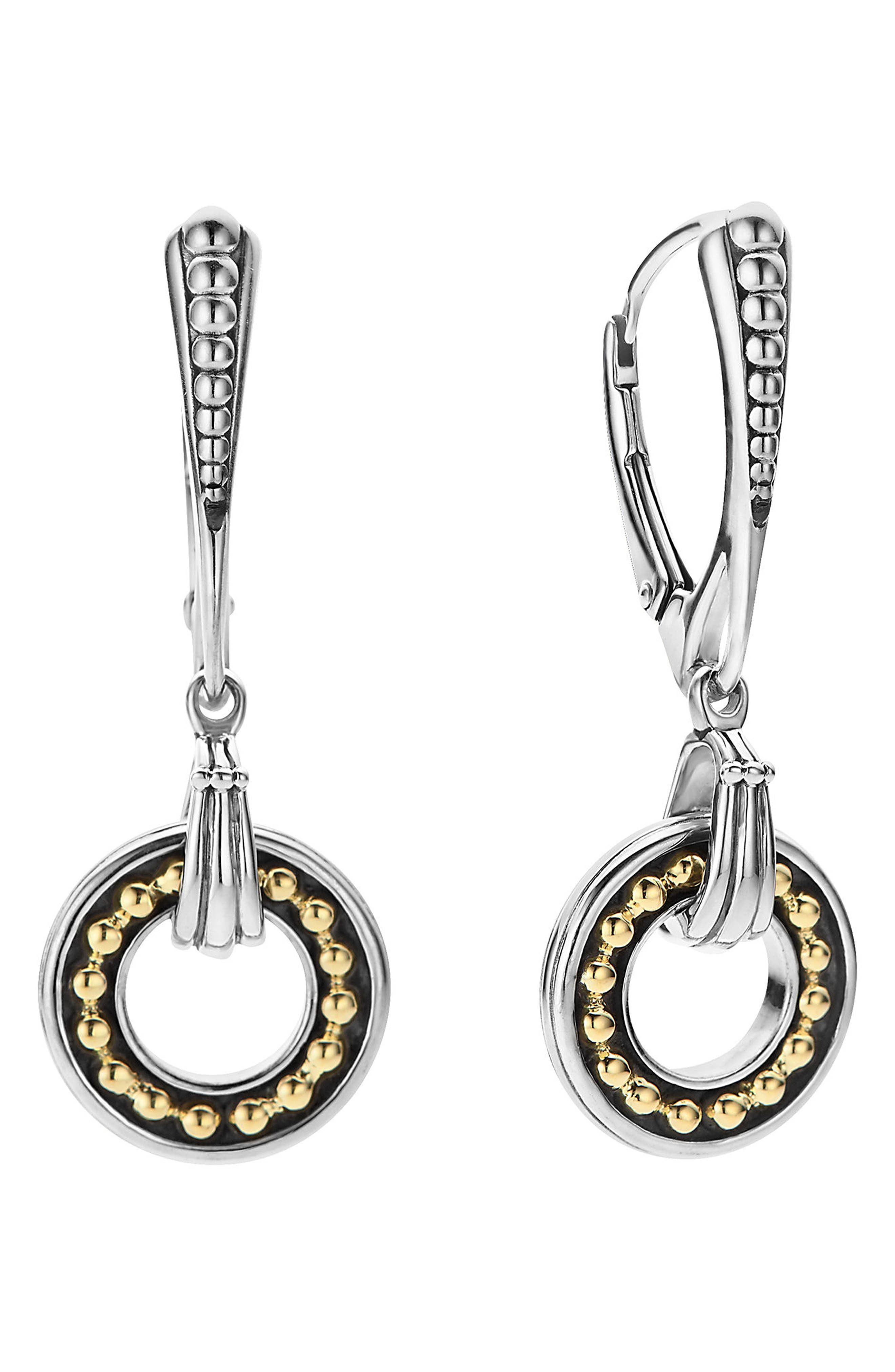 Enso Two Tone Drop Earrings,                         Main,                         color, Silver/ Gold