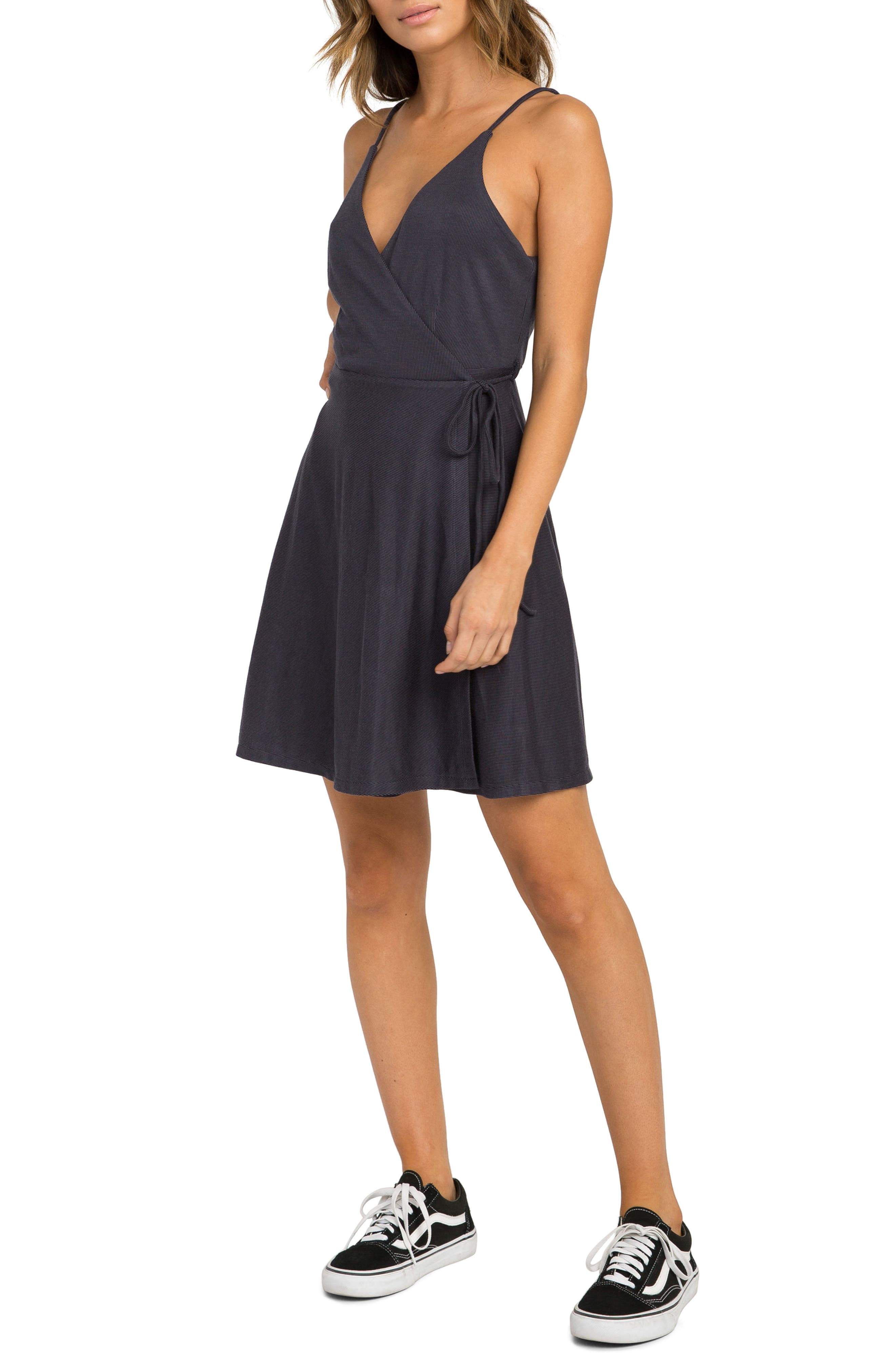 Kelso Wrap Dress,                             Alternate thumbnail 3, color,                             Black