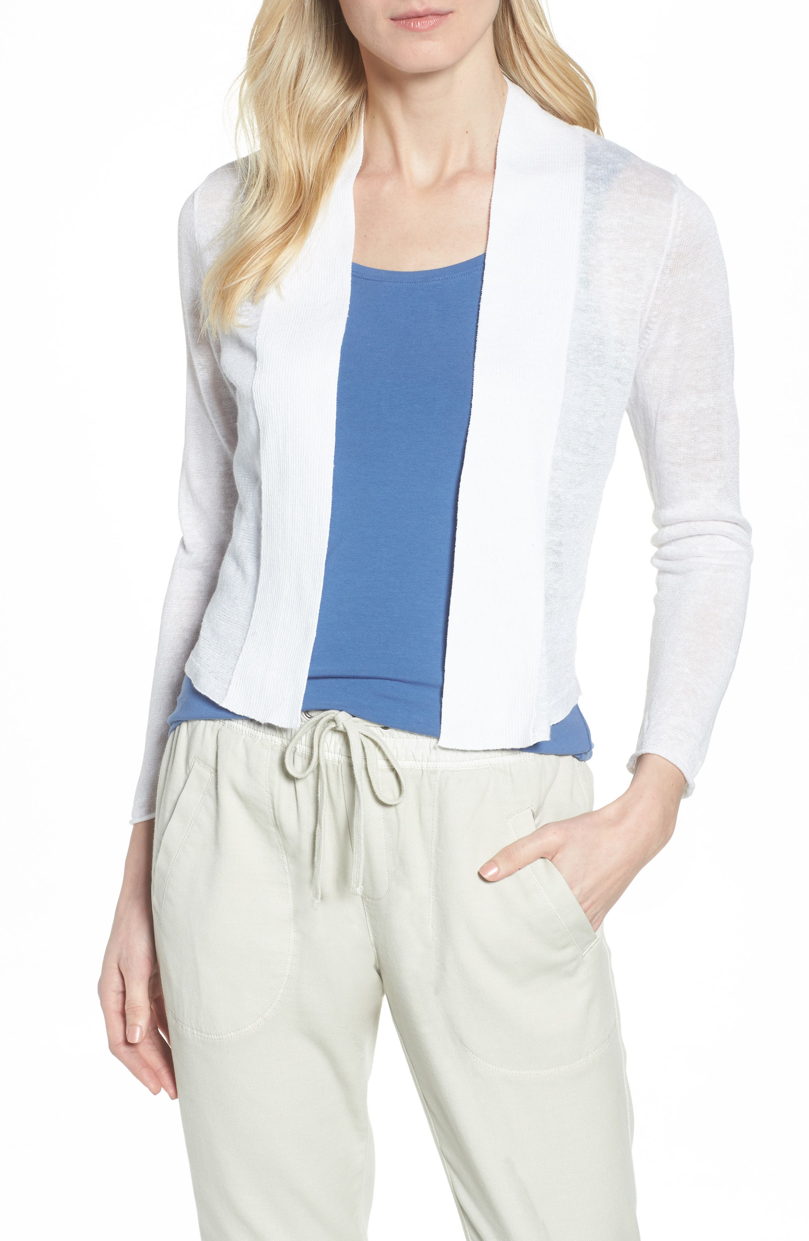 NIC + ZOE Daybreak Open Front Cardigan,                             Main thumbnail 1, color,                             Paper White