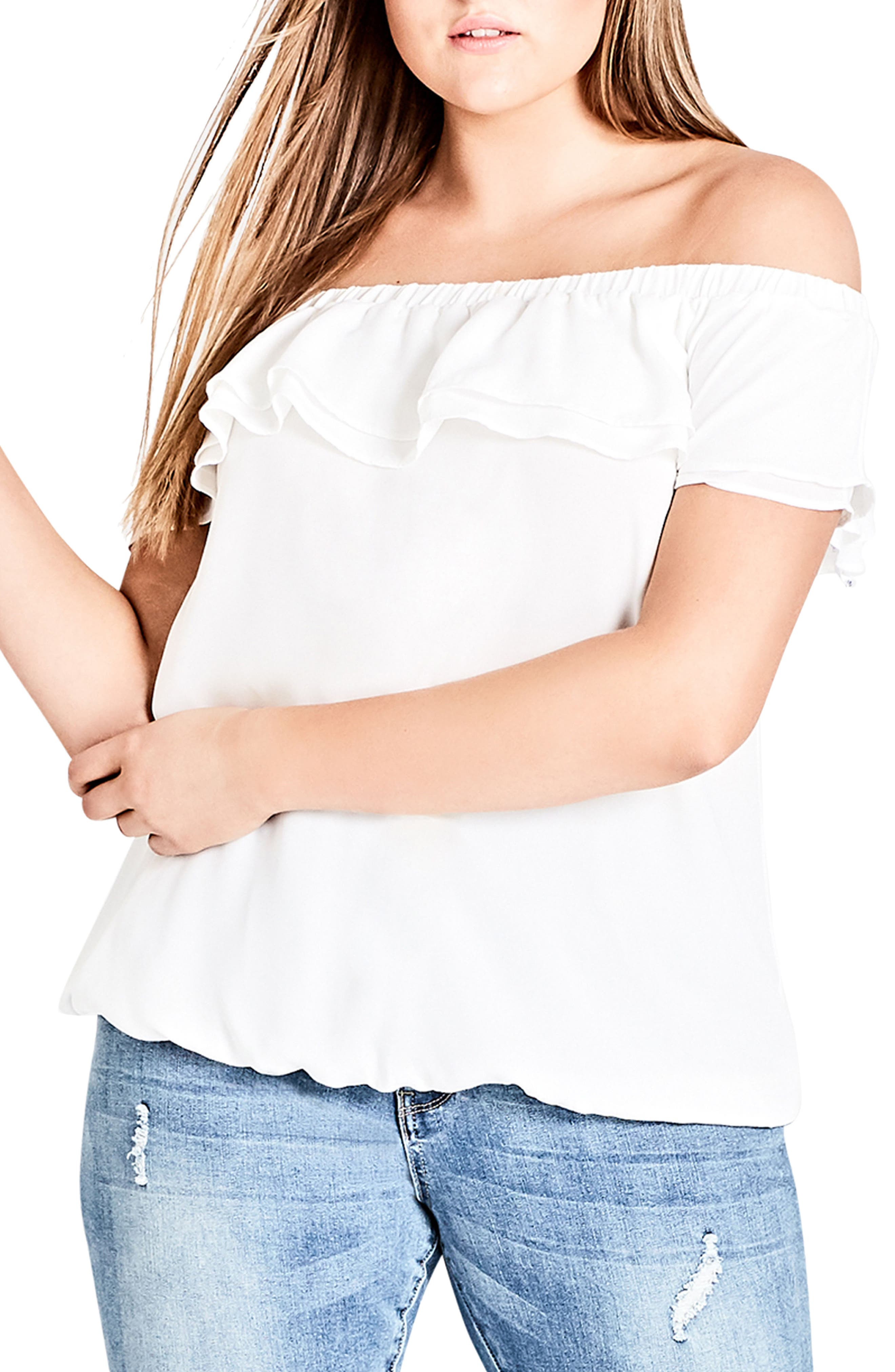 Cascade Off the Shoulder Ruffle Top,                         Main,                         color, Ivory