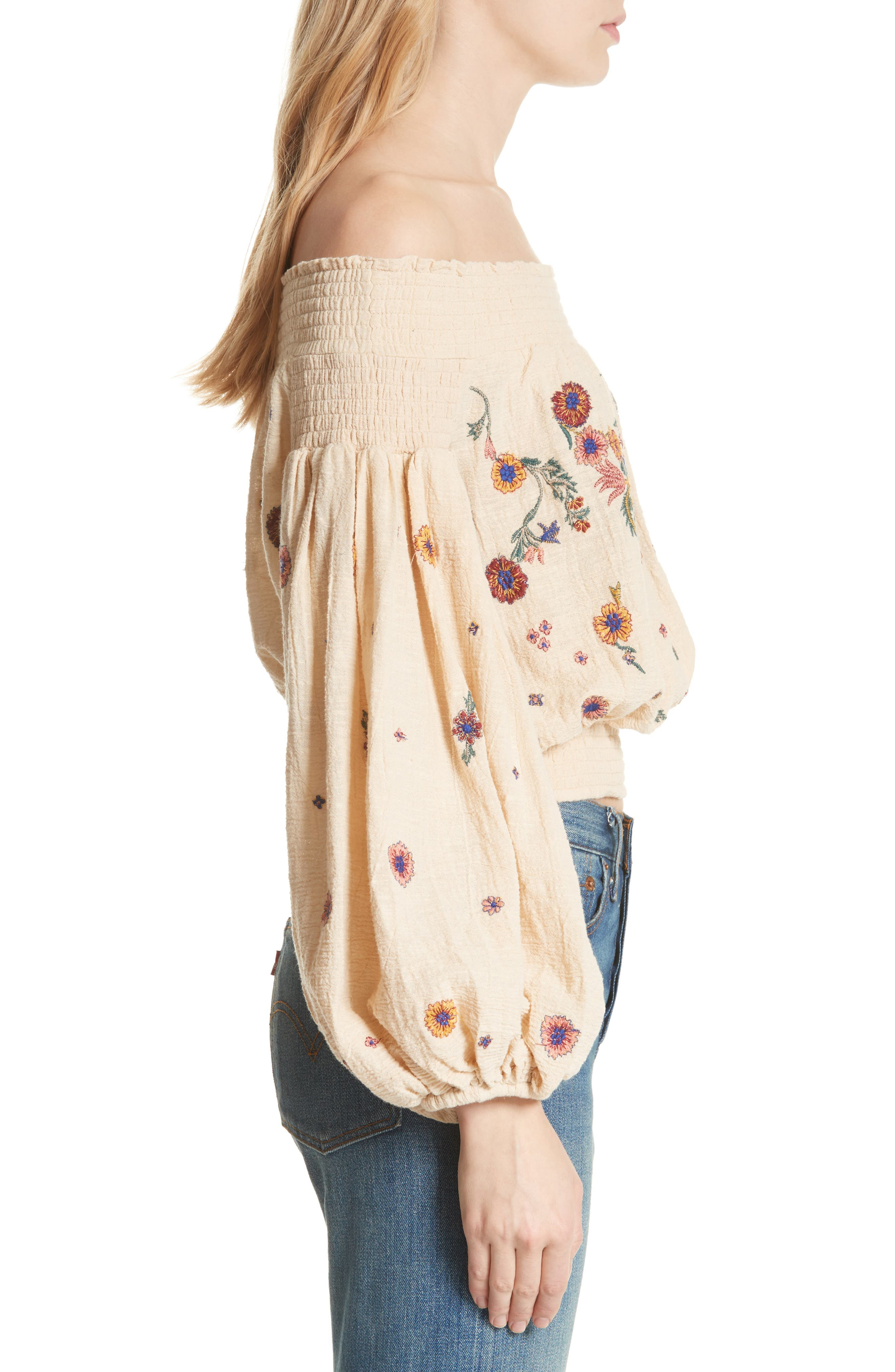 Saachi Smocked Off the Shoulder Top,                             Alternate thumbnail 4, color,                             Neutral