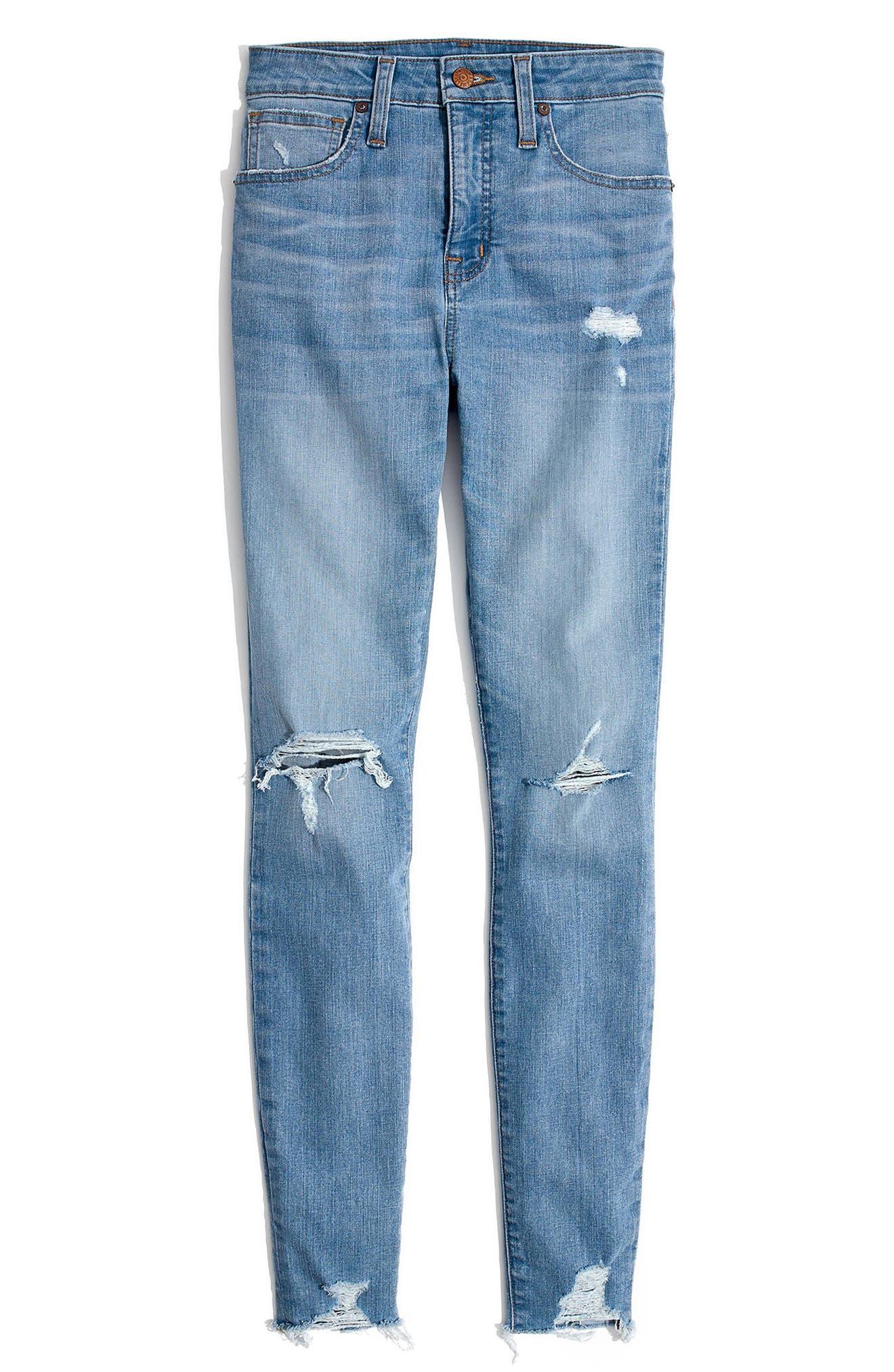 Curvy High Waist Distressed Hem Skinny Jeans,                             Alternate thumbnail 5, color,                             Ontario Wash