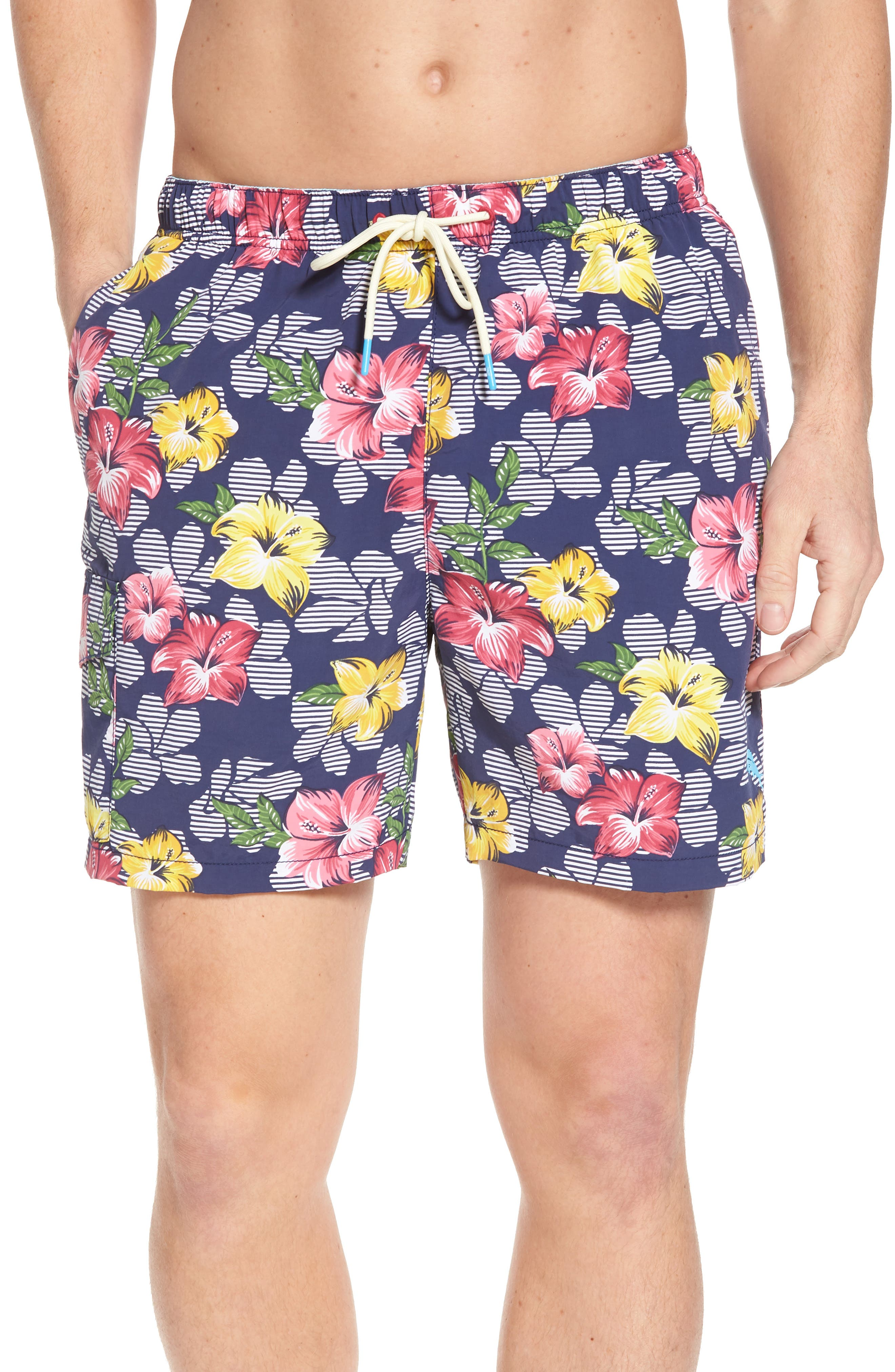 Naples Hibiscus High Line Swim Trunks,                         Main,                         color, Throne Blue