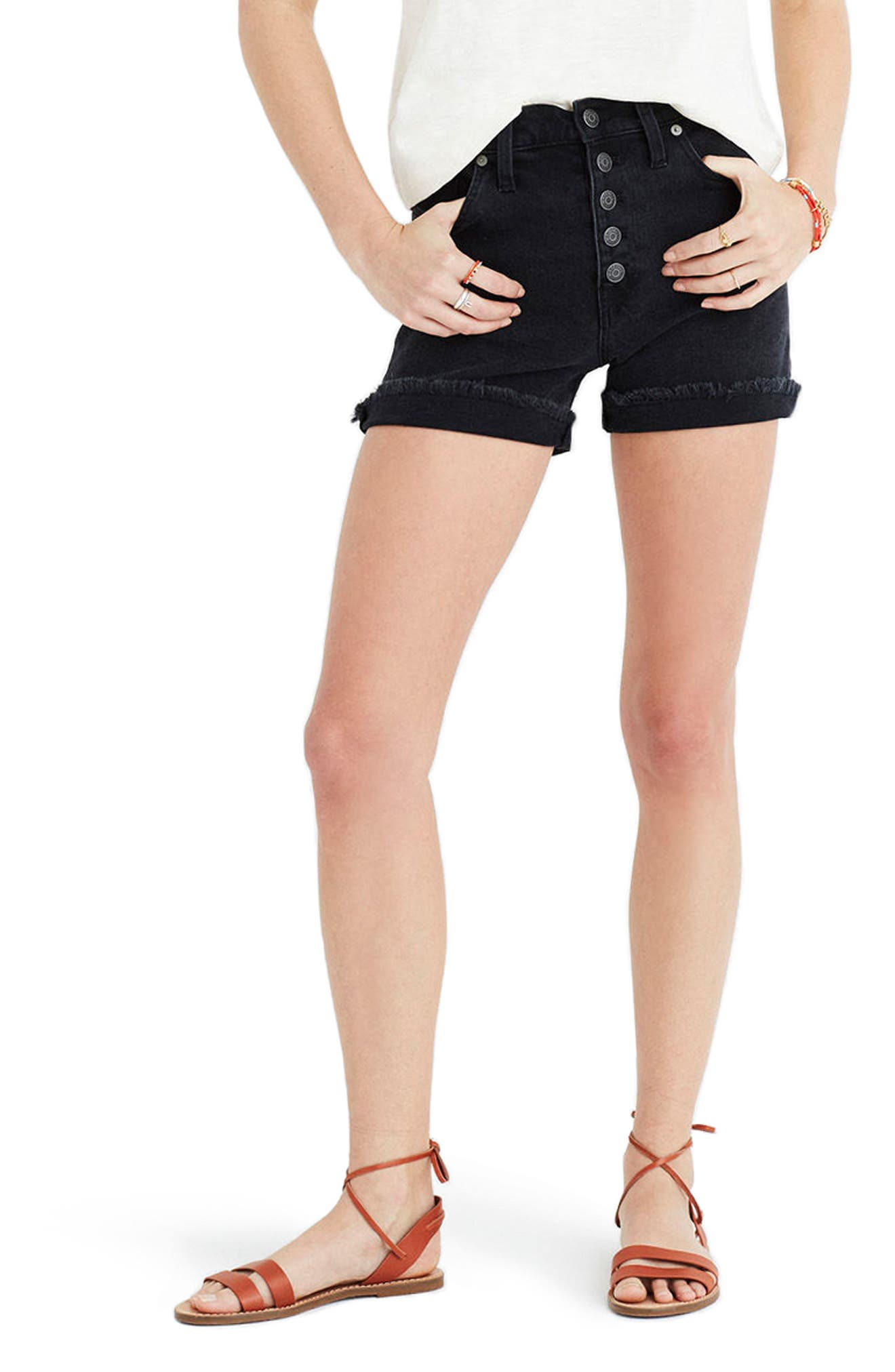 Main Image - Madewell High Rise Denim Shorts (Faded Black)
