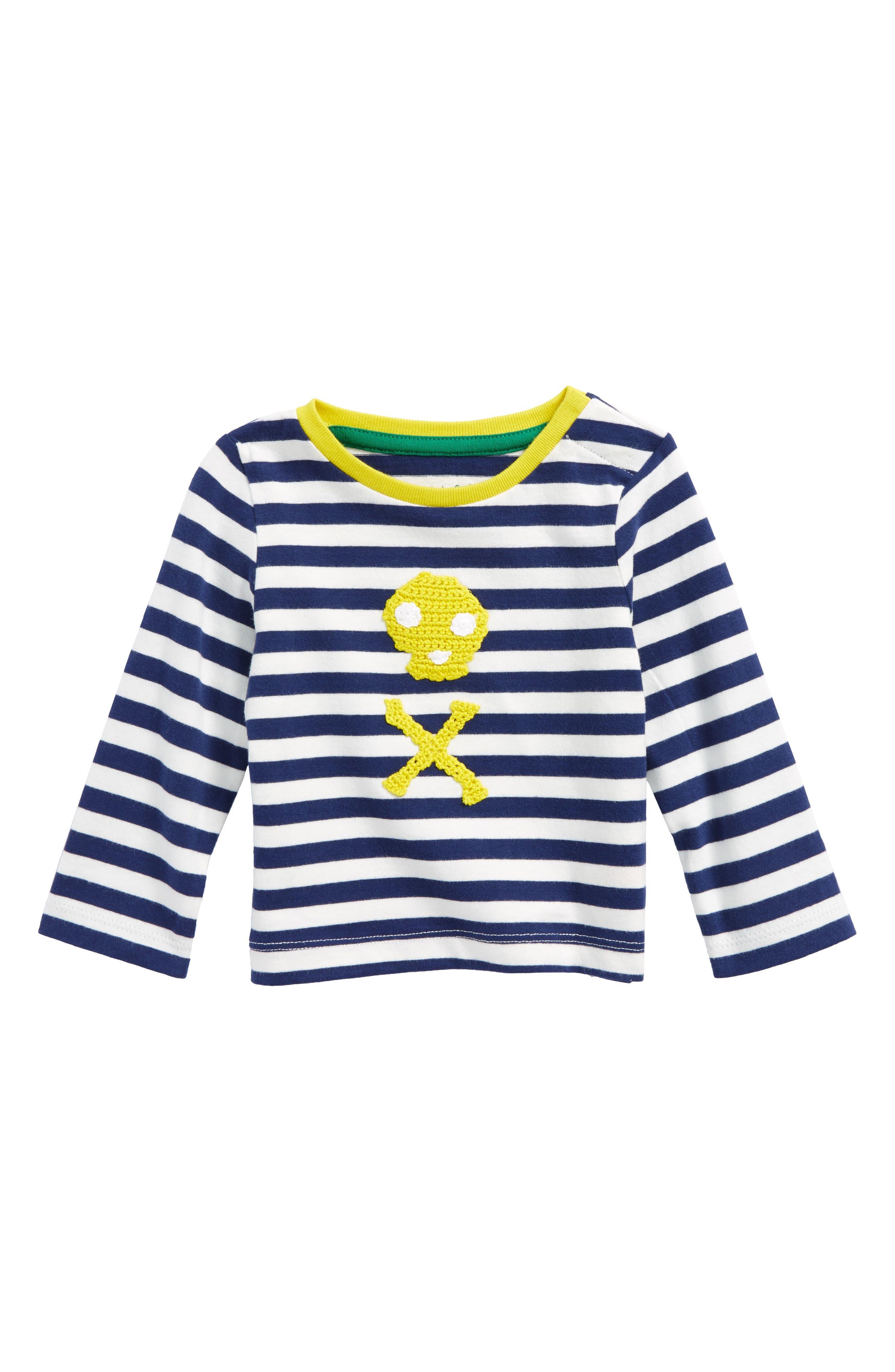 Stripy Crochet T-Shirt,                             Main thumbnail 1, color,                             Ecru/ Beacon Blue