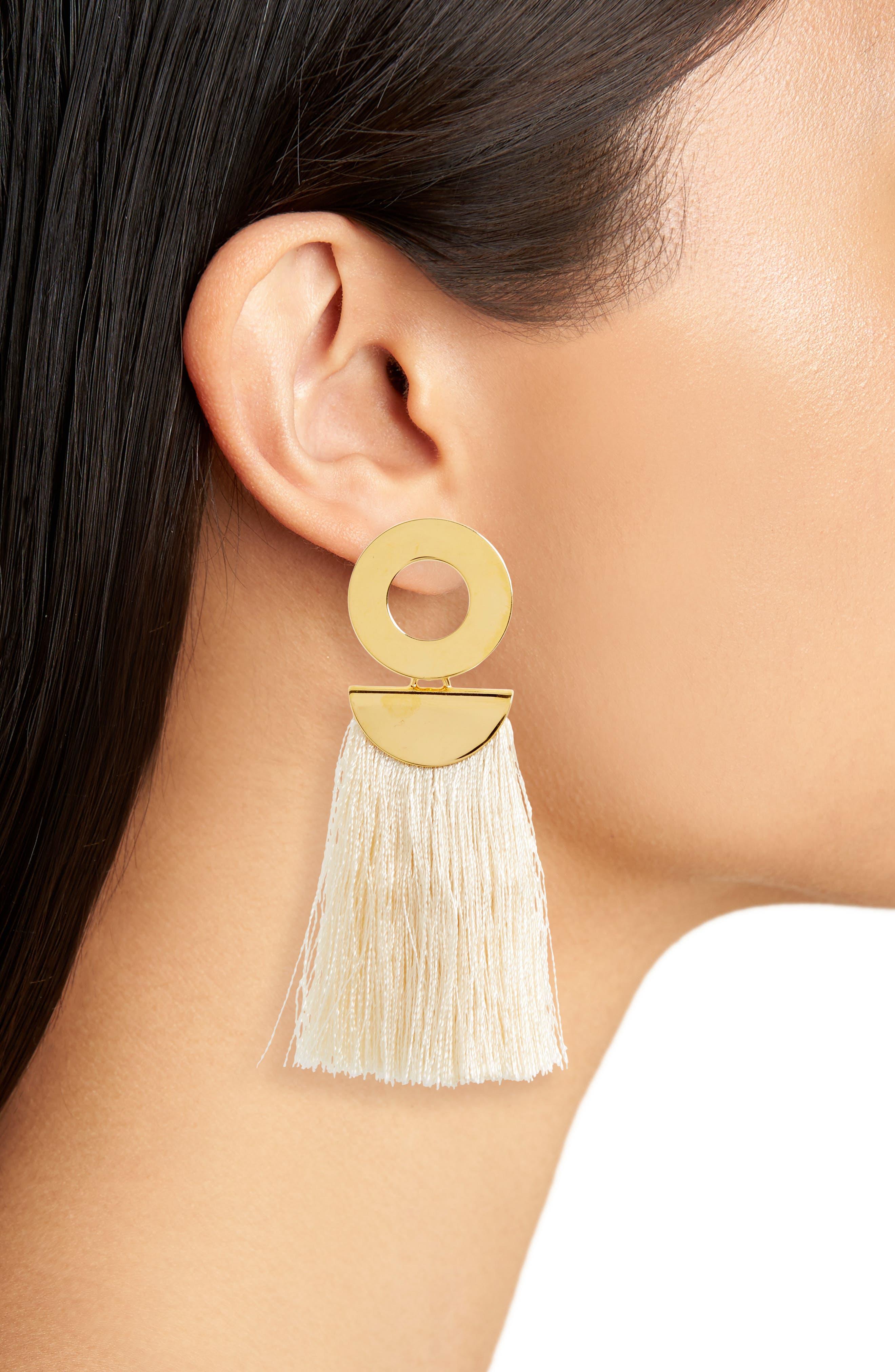Go-Go Crater Tassel Drop Earrings,                             Alternate thumbnail 2, color,                             White/ Gold