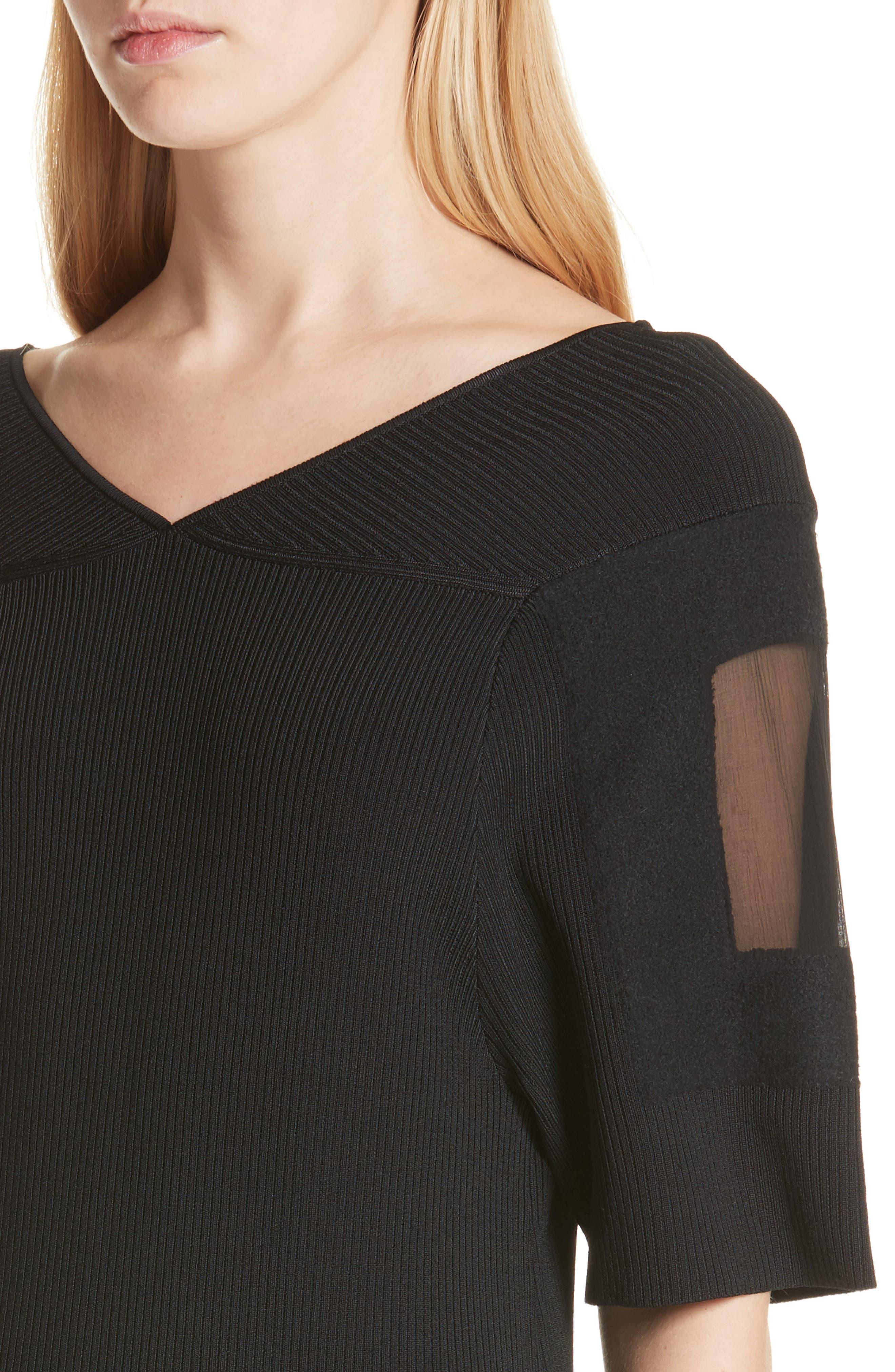 Handkerchief Hem Knit Dress,                             Alternate thumbnail 4, color,                             Black