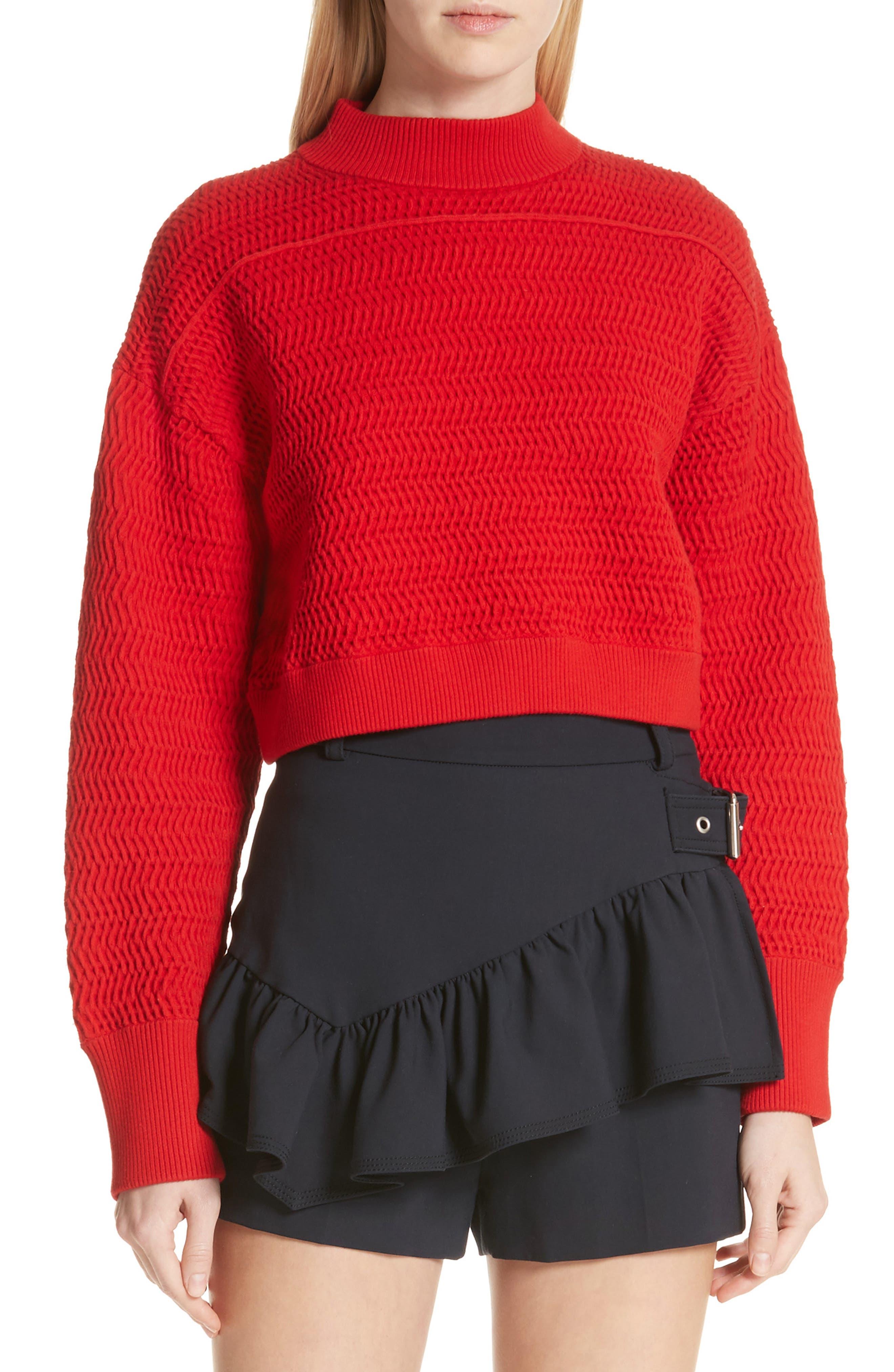 Faux Plait Silk Blend Crop Sweater,                         Main,                         color, Poppy
