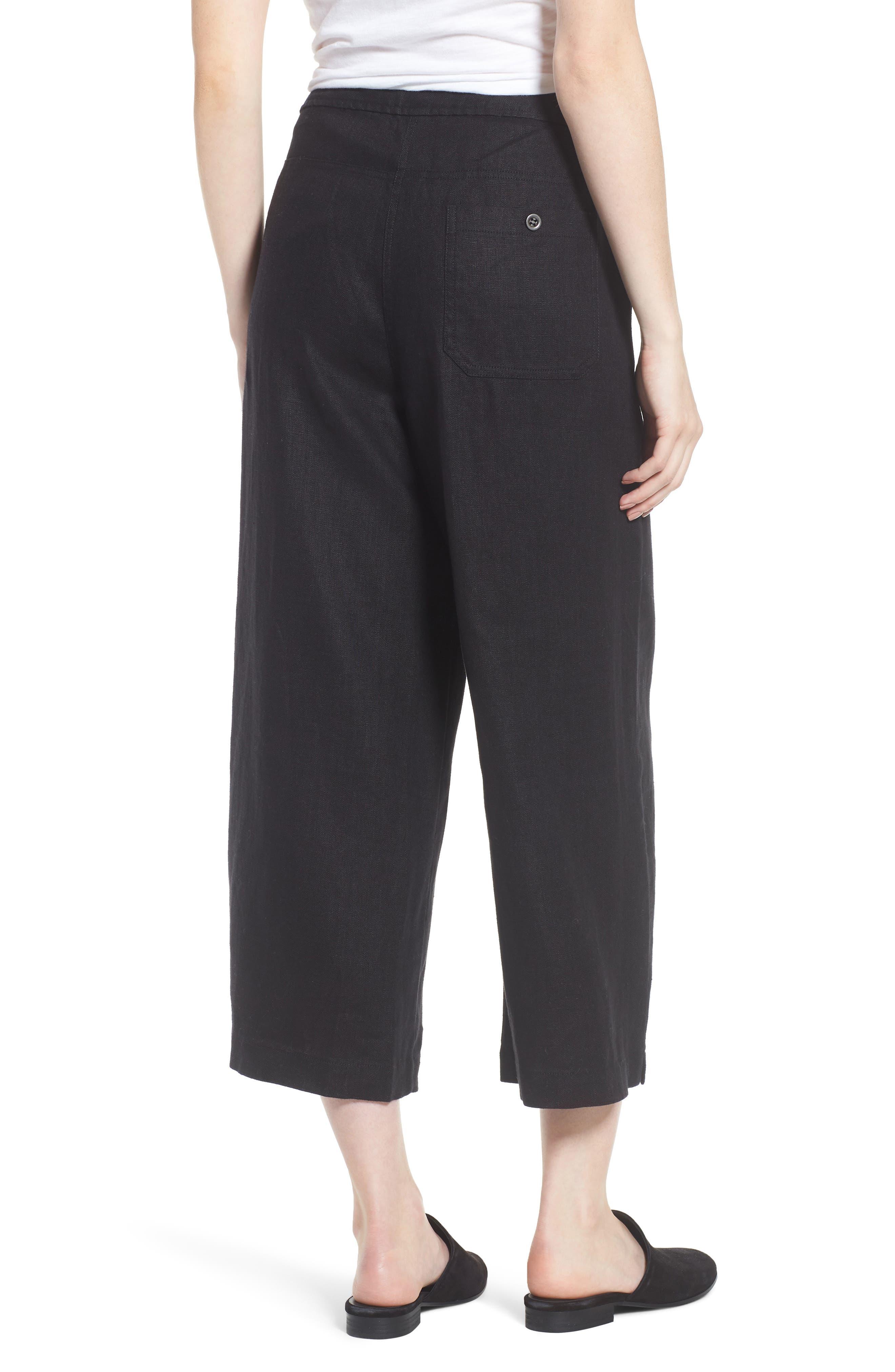 Wide Leg Organic Linen Pants,                             Alternate thumbnail 2, color,                             Black