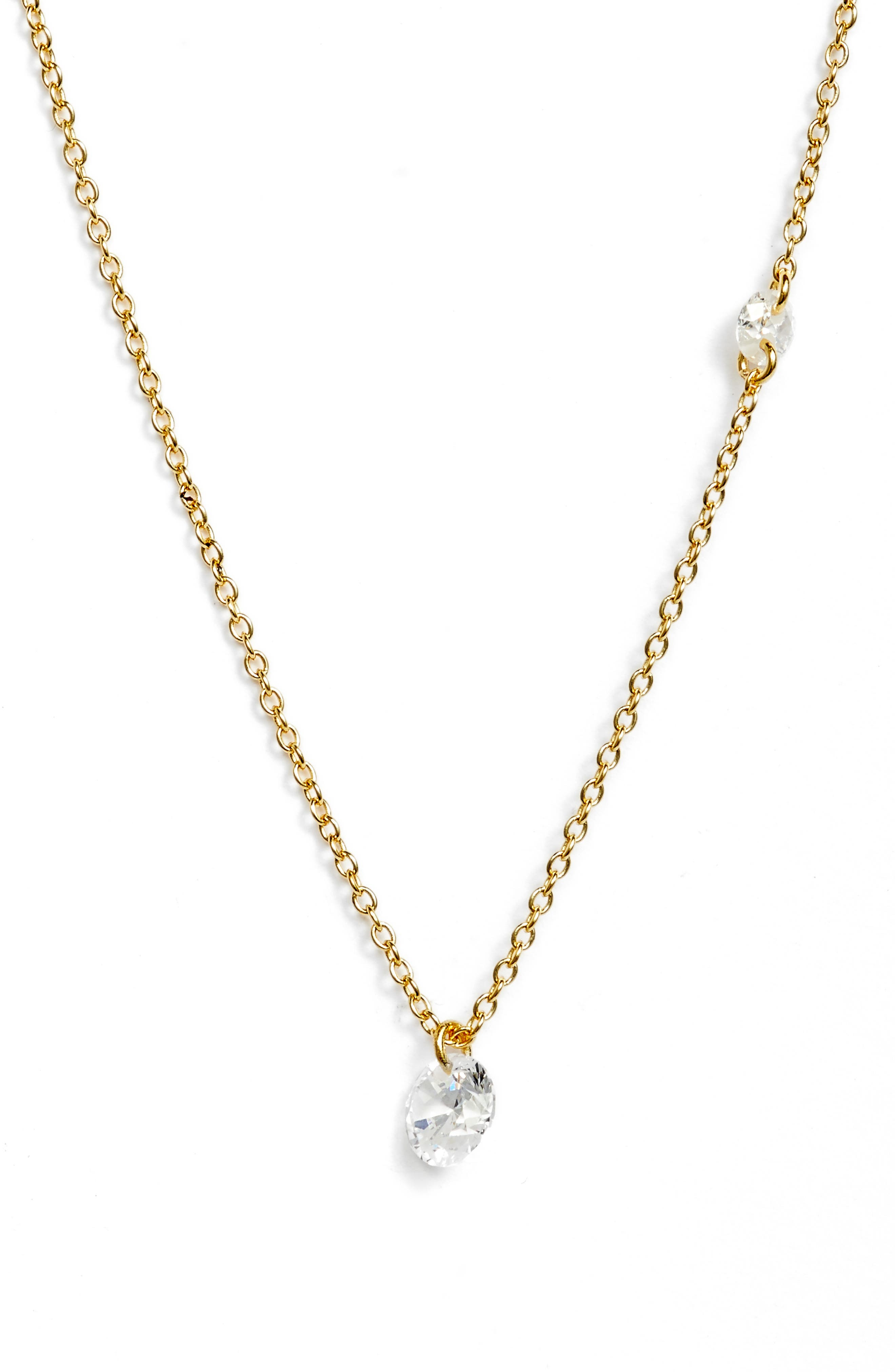 Nordstrom Cubic Zirconia Briolette Pendant Necklace