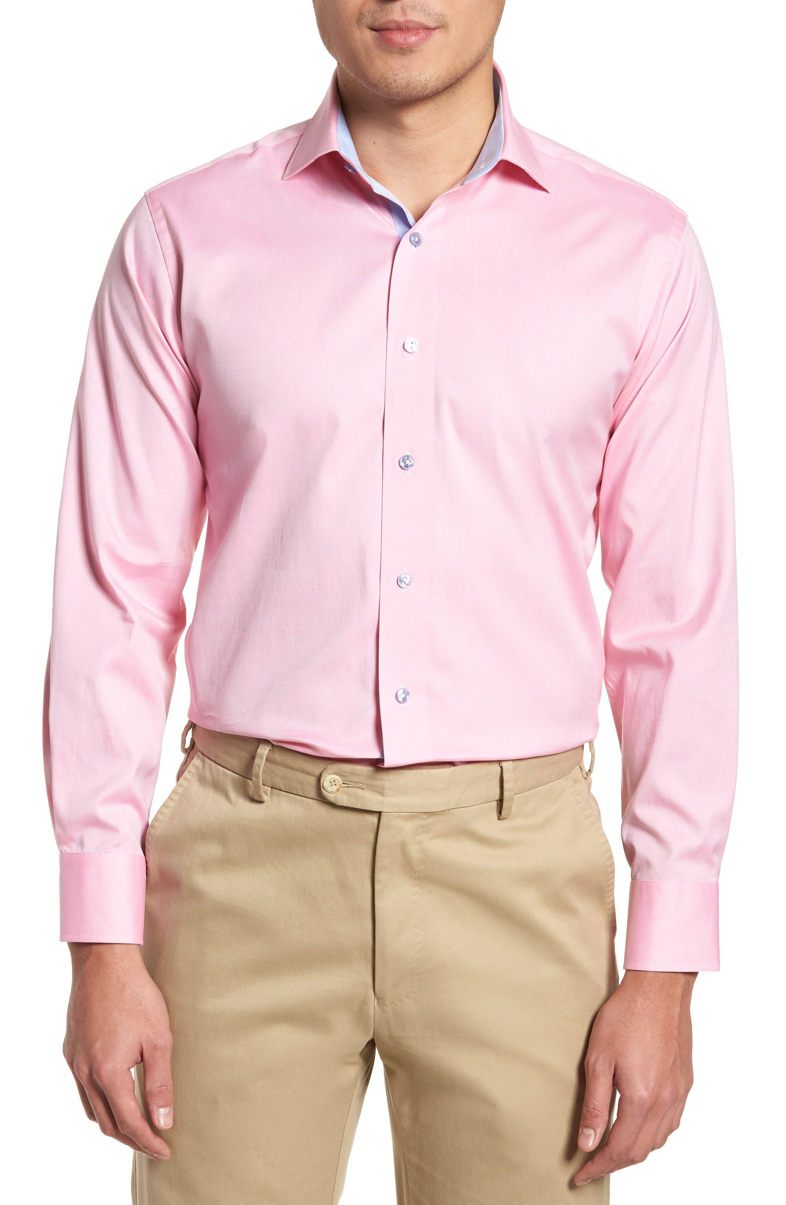 Trim Fit Oxford Dress Shirt,                             Main thumbnail 1, color,                             Pink