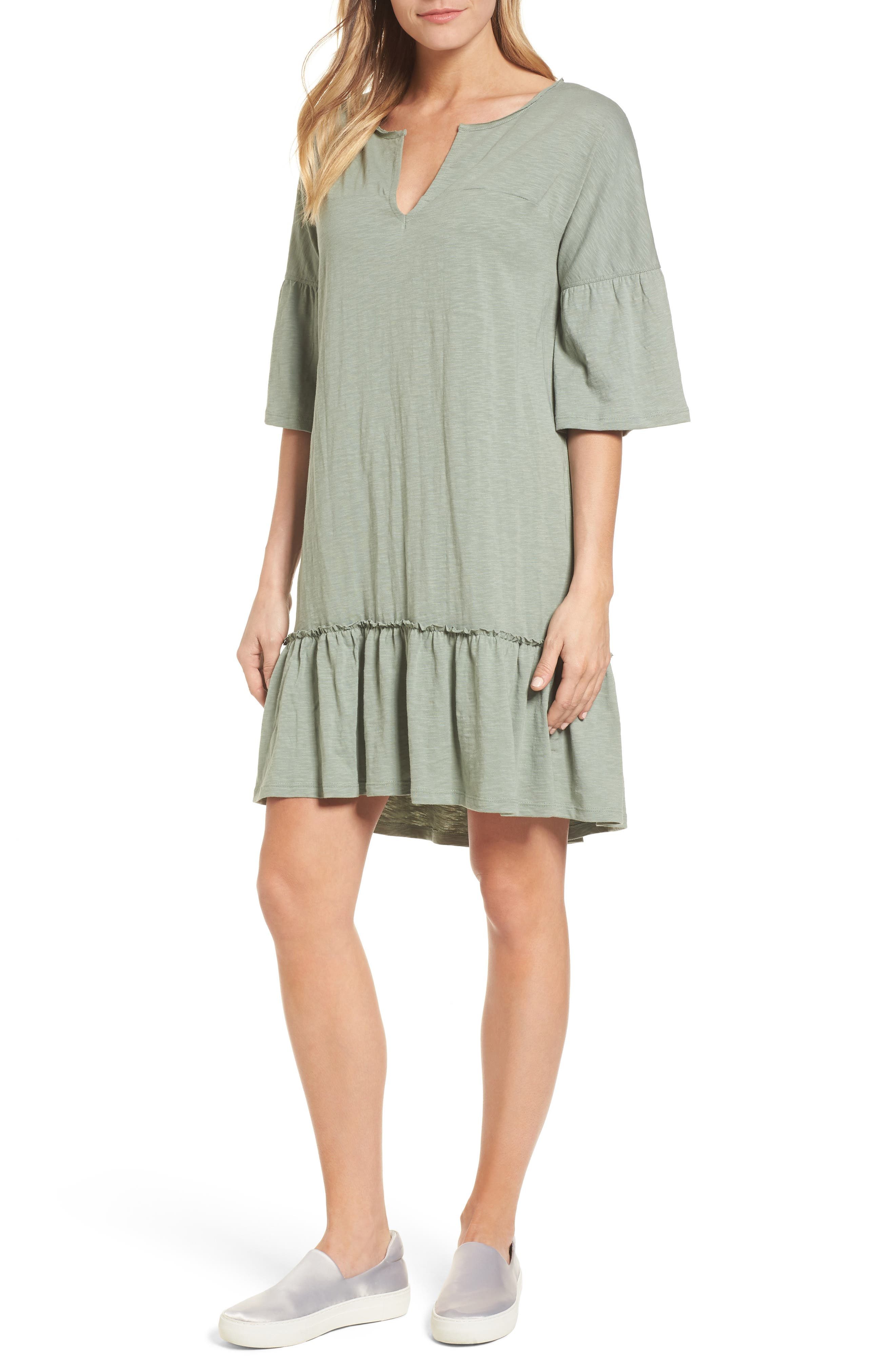Ruffle Sleeve Cotton Dress,                             Main thumbnail 1, color,                             Green Lilypad