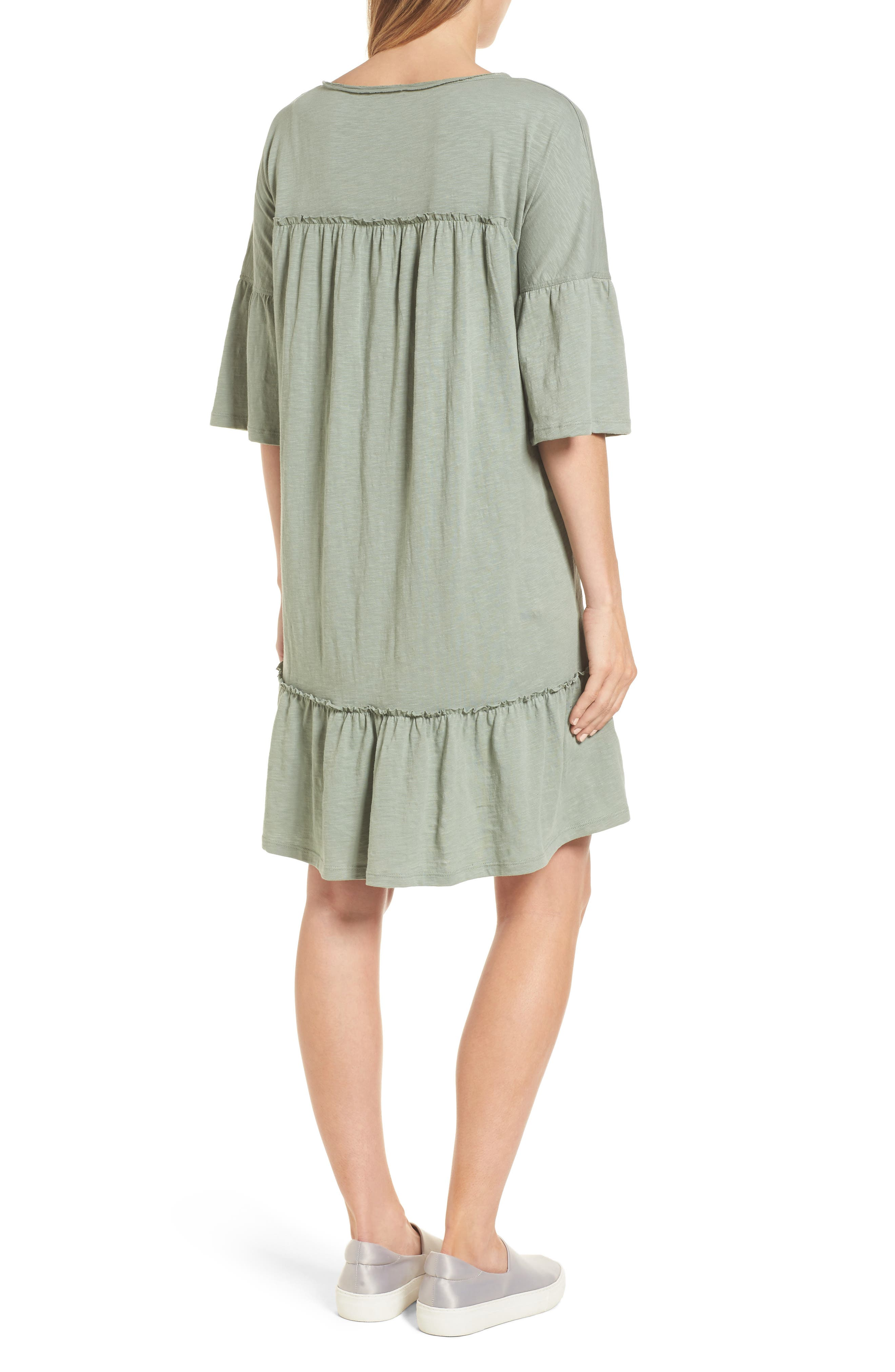 Ruffle Sleeve Cotton Dress,                             Alternate thumbnail 2, color,                             Green Lilypad