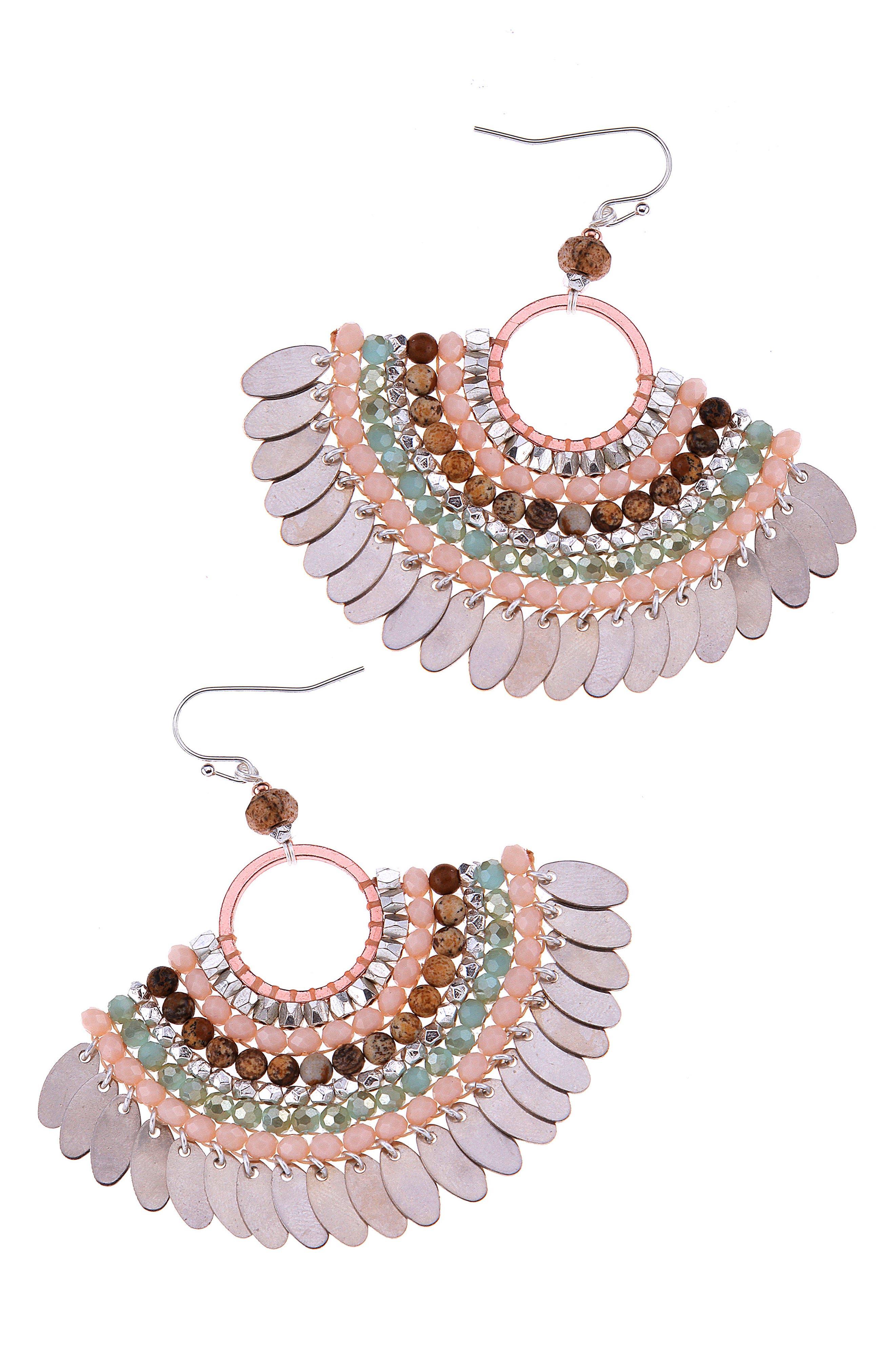 Alice Fan Earrings,                             Main thumbnail 1, color,                             Aqua