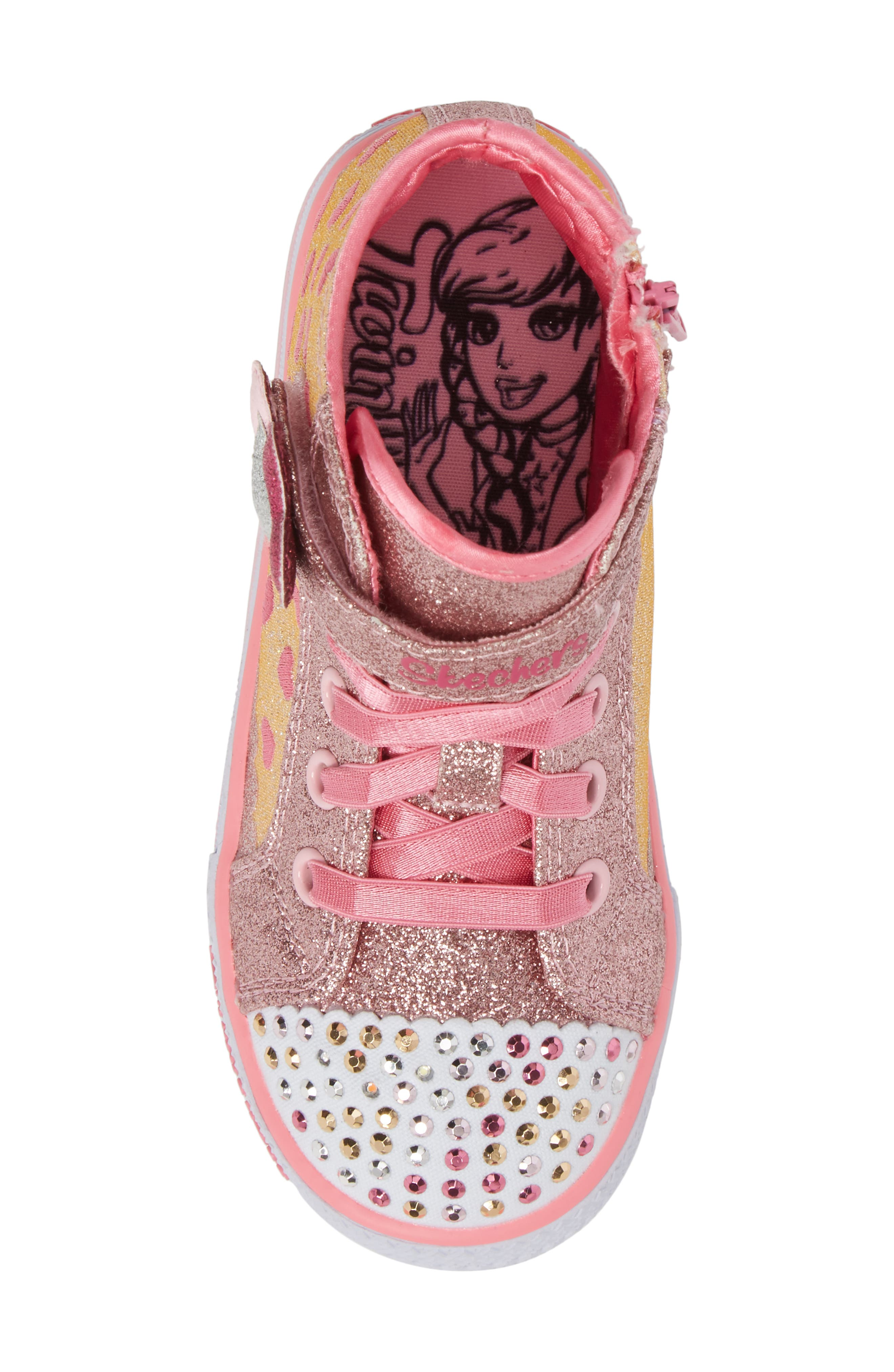 Twinkle Toes - Shuffles High Top Sneaker,                             Alternate thumbnail 5, color,                             Pink/ Hot Pink
