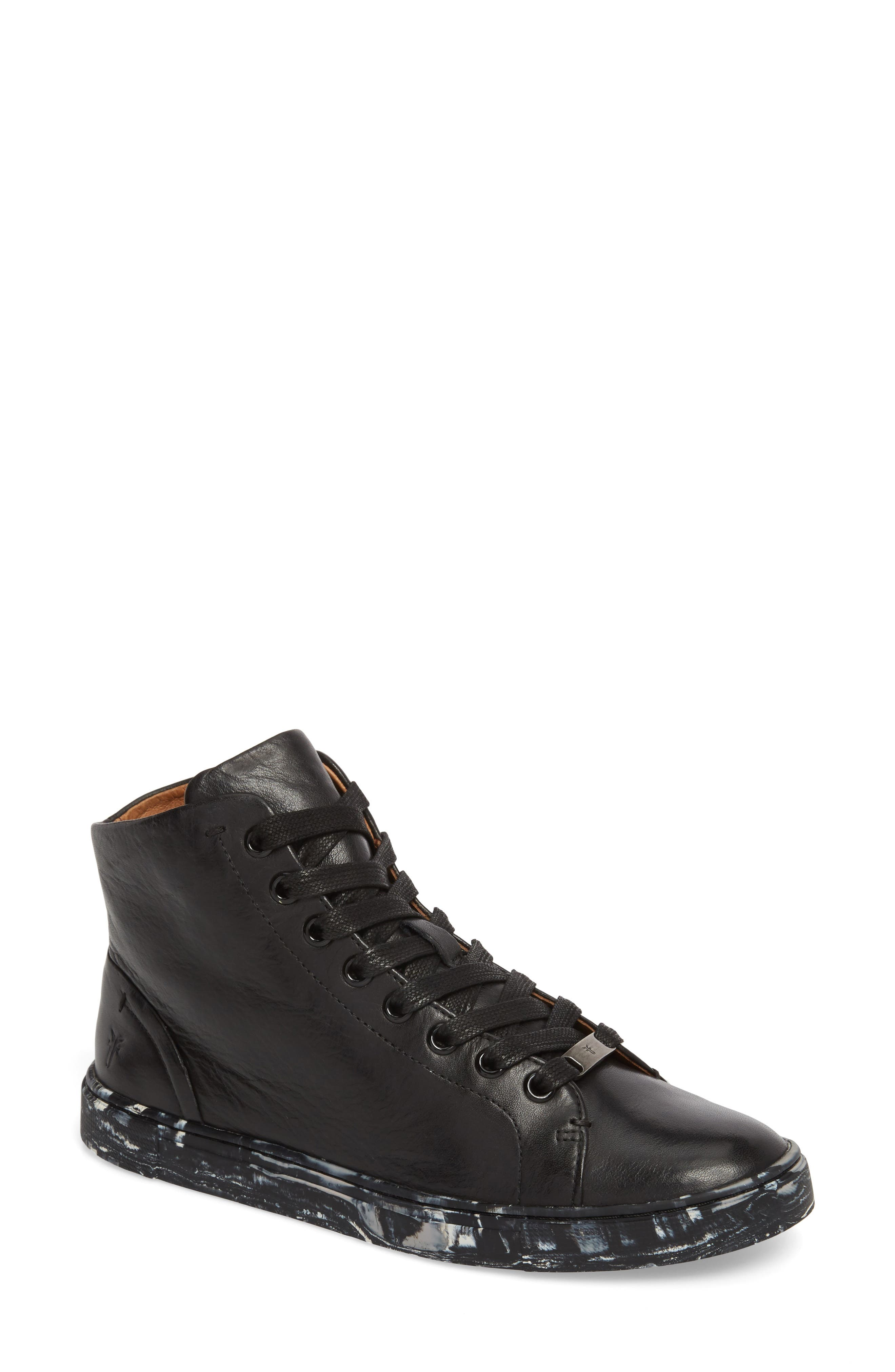 Ivy High Top Sneaker,                         Main,                         color, Black Leather