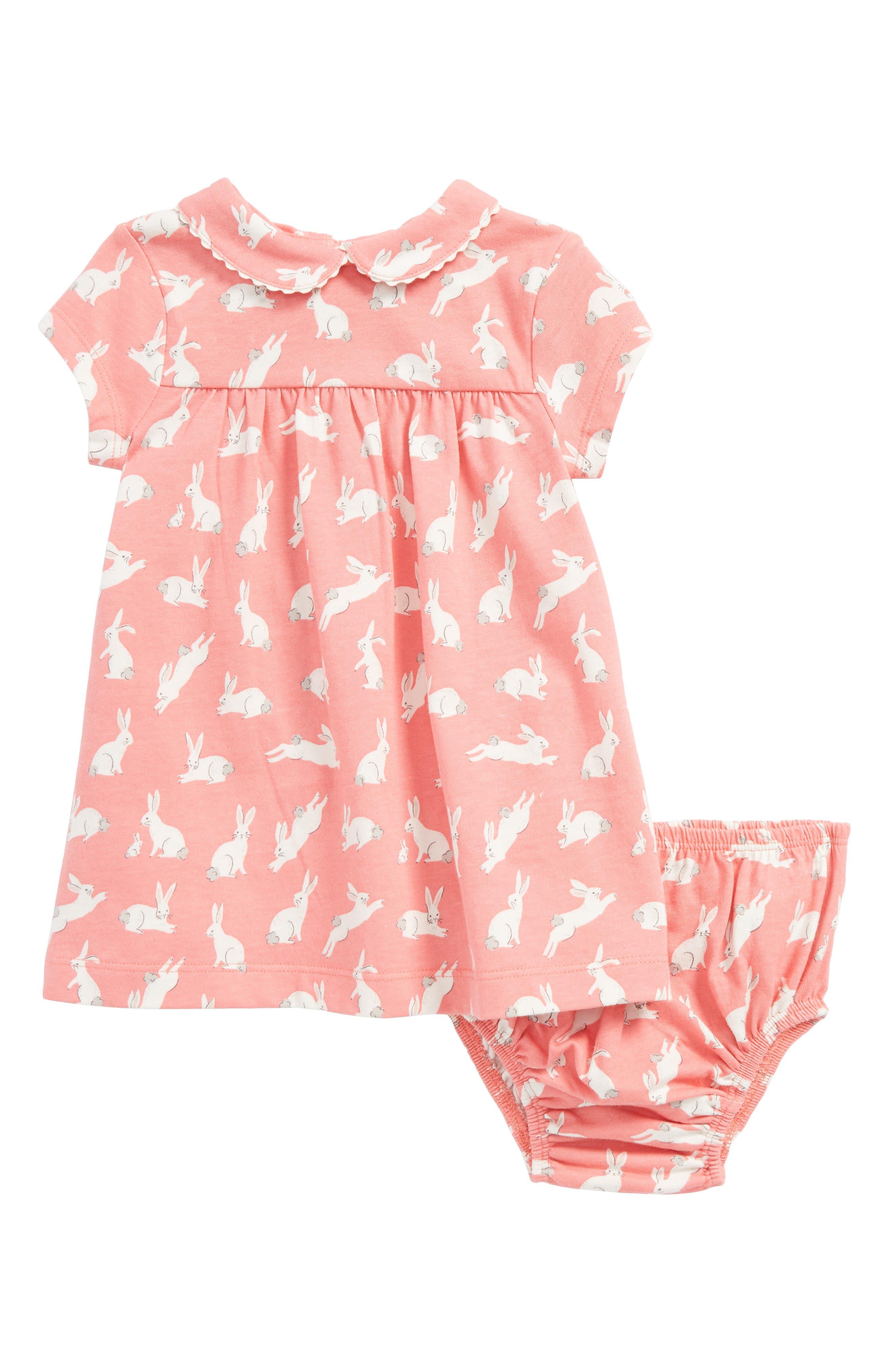 Alternate Image 1 Selected - Mini Boden Bunnies Print Jersey Dress (Baby Girls & Toddler Girls)