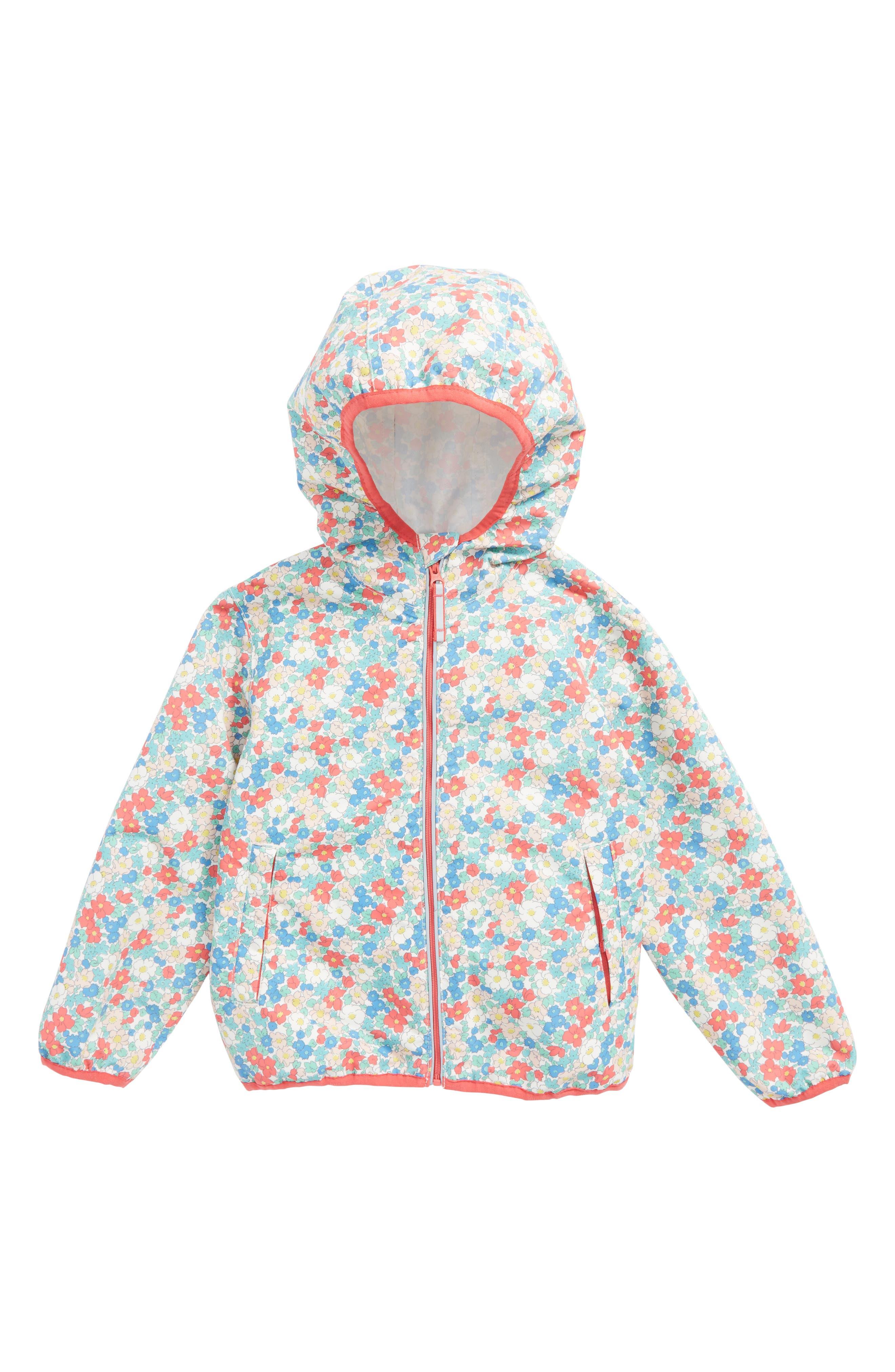 Packaway Waterproof Jacket,                         Main,                         color, Strawberry Pink Floral