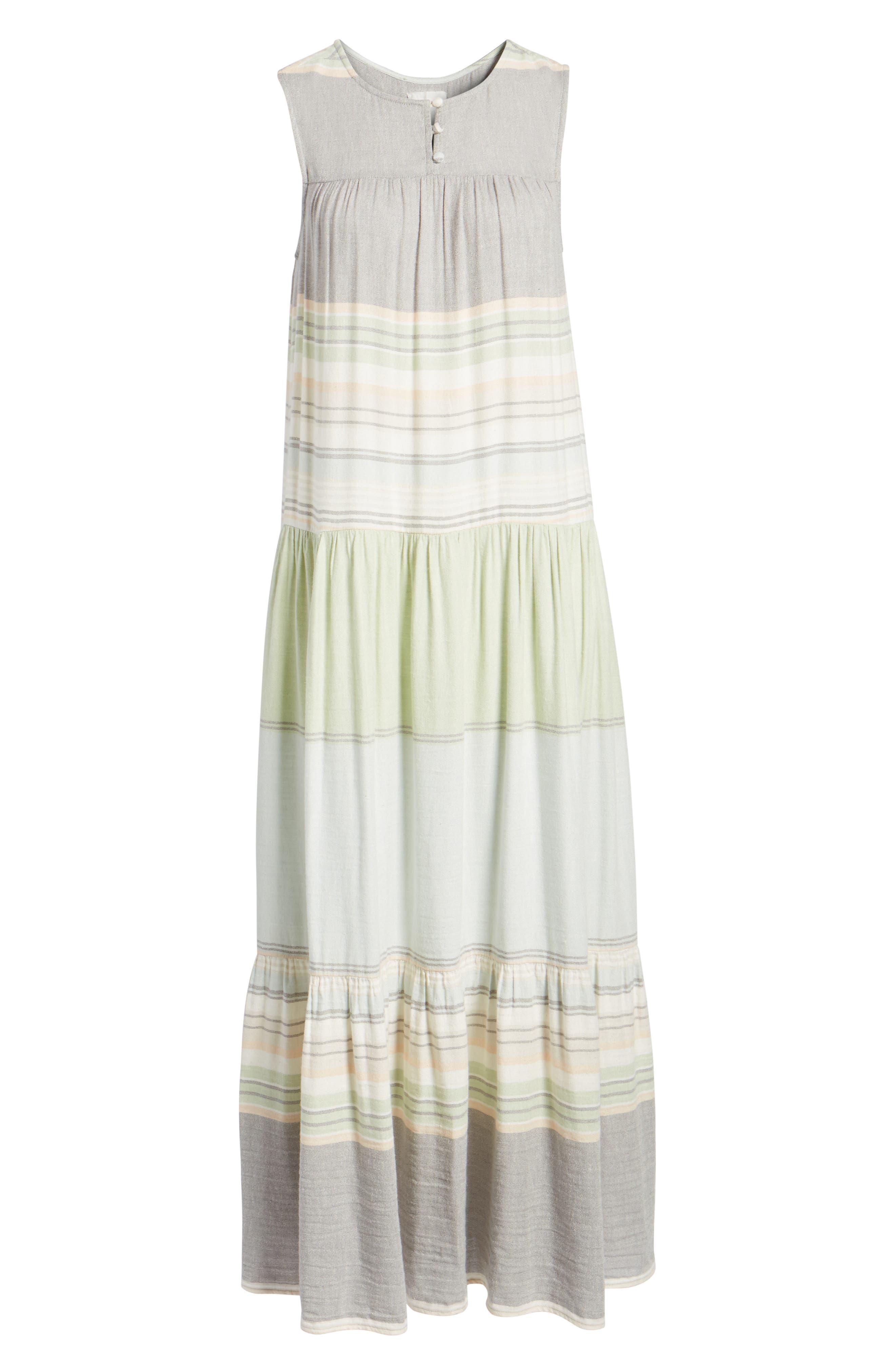 Multi Stripe Woven Maxi Dress,                             Alternate thumbnail 6, color,                             Green- Grey Vallis Stripe